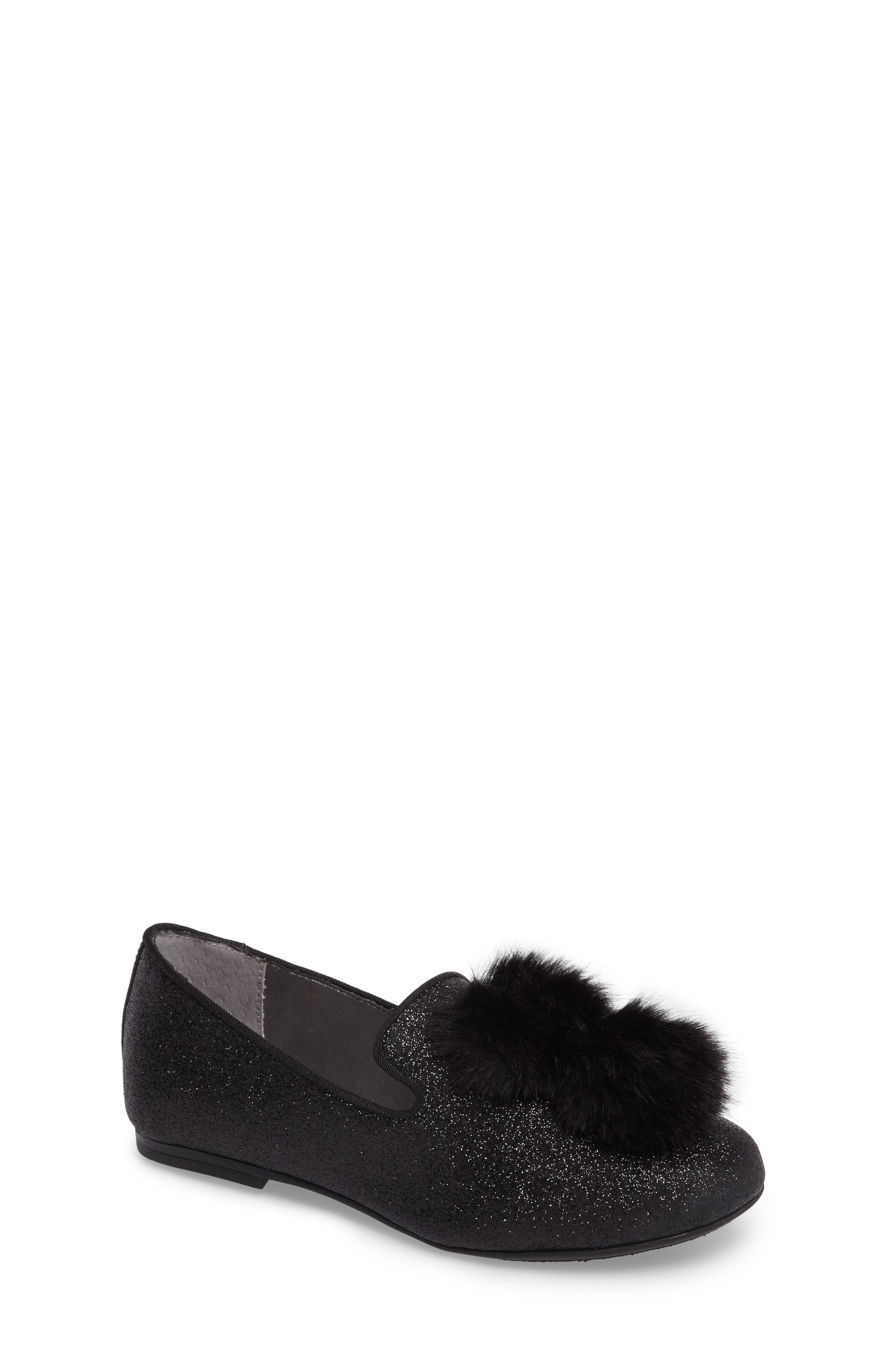 Caela Faux Fur Loafer,                             Main thumbnail 1, color,                             Black Glitter