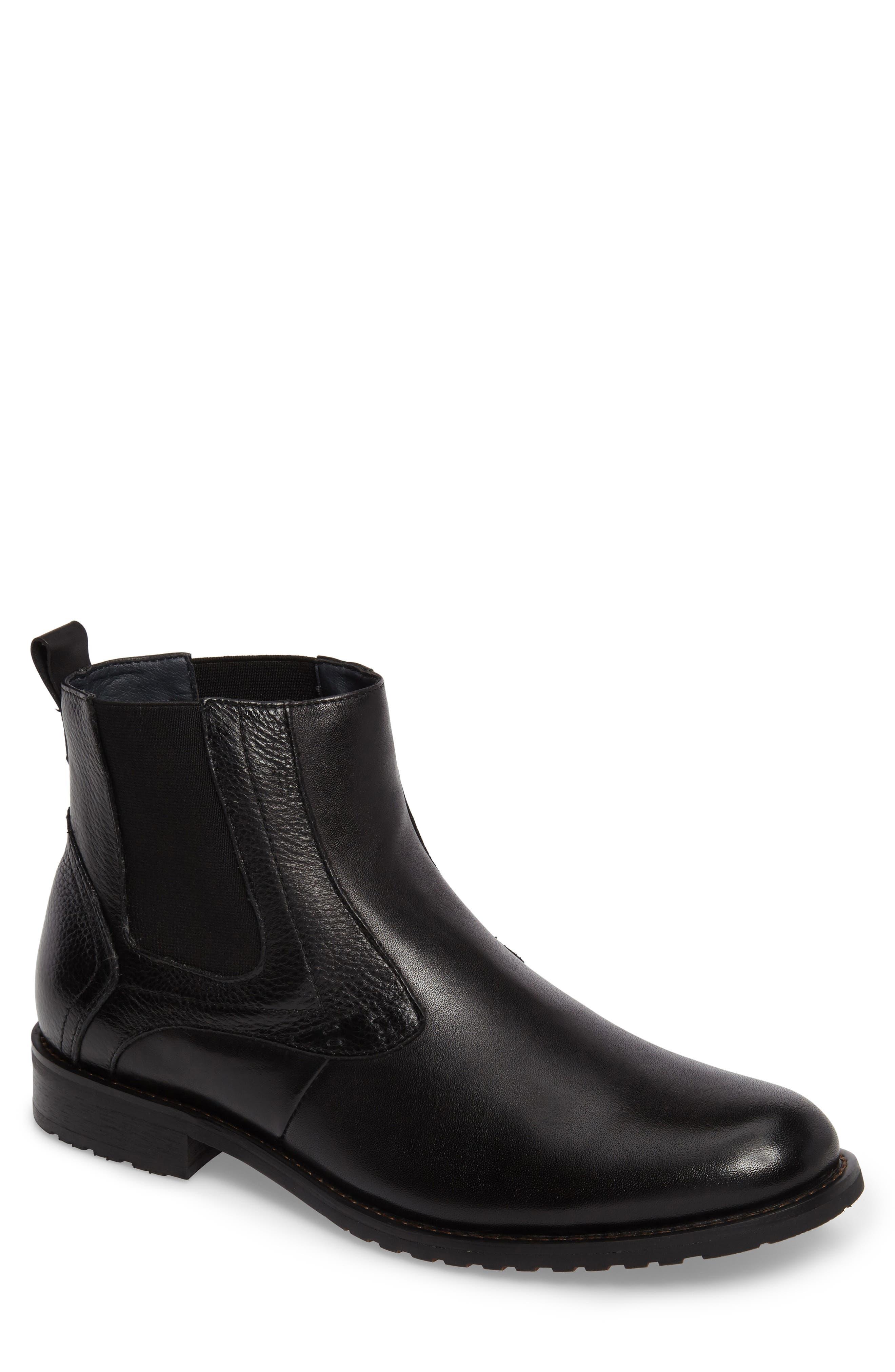 Oaks Chelsea Boot,                             Main thumbnail 1, color,                             Black Leather