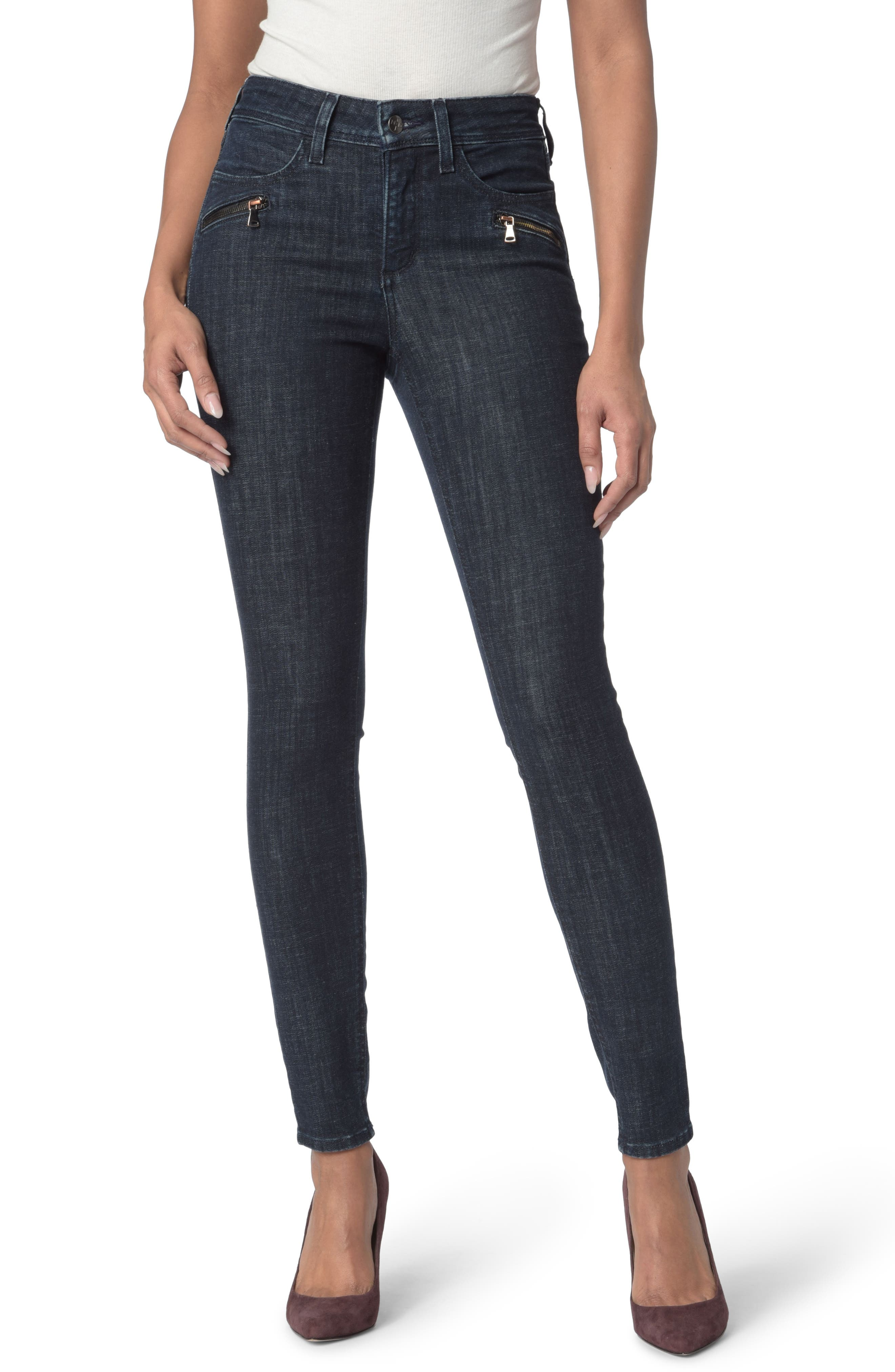 Alternate Image 1 Selected - NYDJ Ami Zip Detail Stretch Super Skinny Jeans (Rambard)