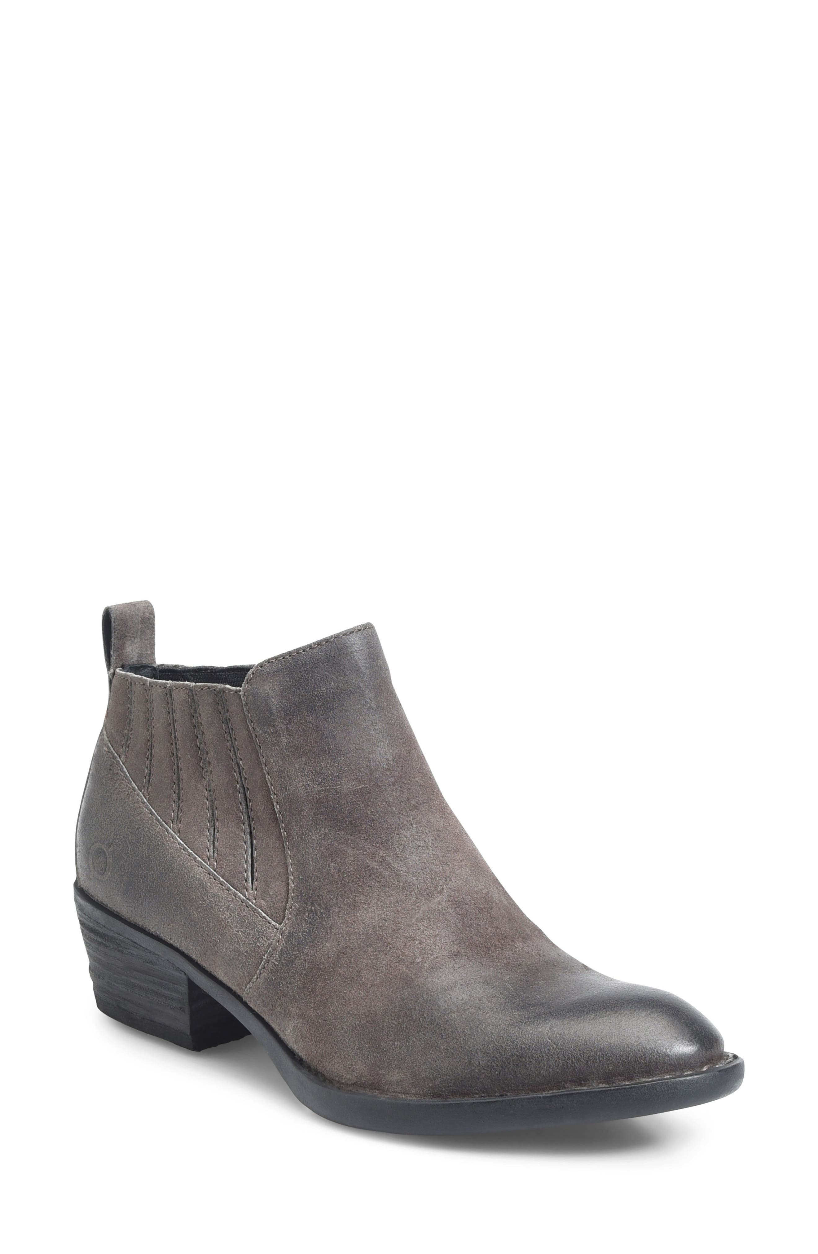 Beebe Bootie,                             Main thumbnail 1, color,                             Grey Distressed Leather