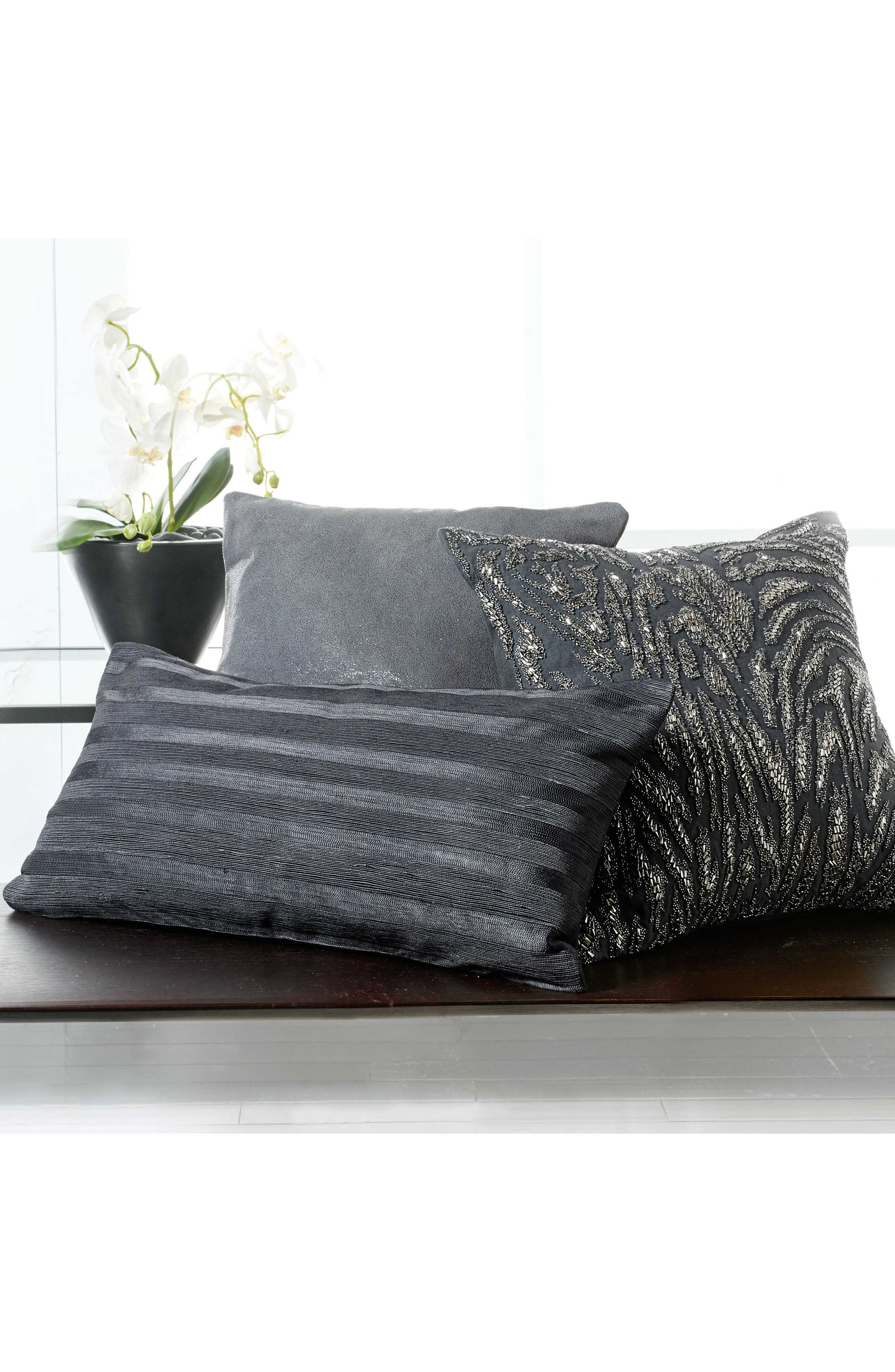 Moonscape Leather Accent Pillow,                             Alternate thumbnail 5, color,                             Charcoal