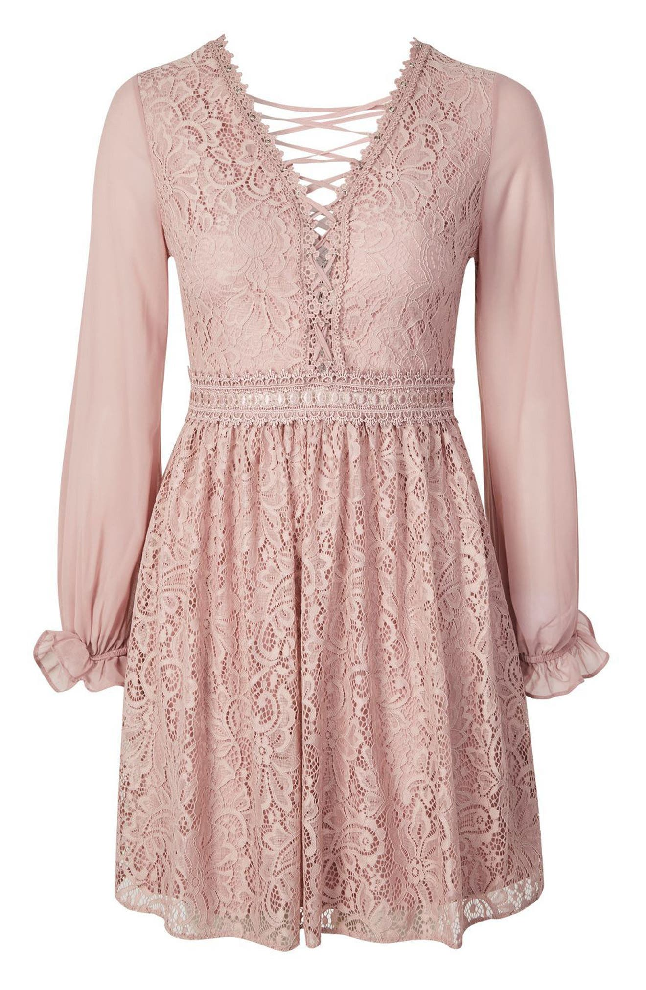 Laced Back Minidress,                             Alternate thumbnail 4, color,                             Dusty Pink