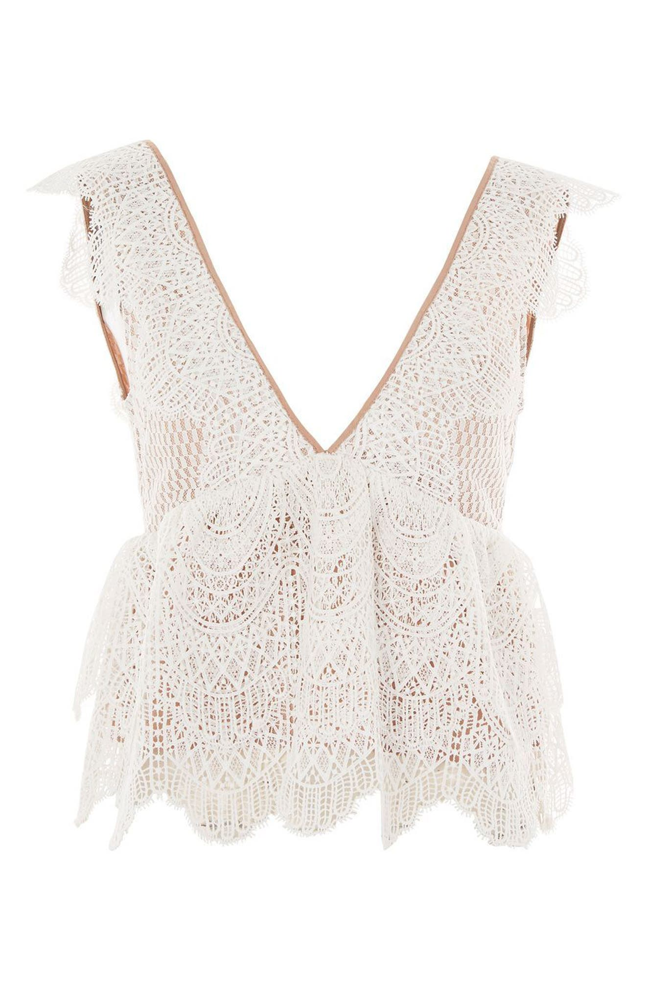 Plunging Lace Peplum Top,                             Alternate thumbnail 5, color,                             Ivory