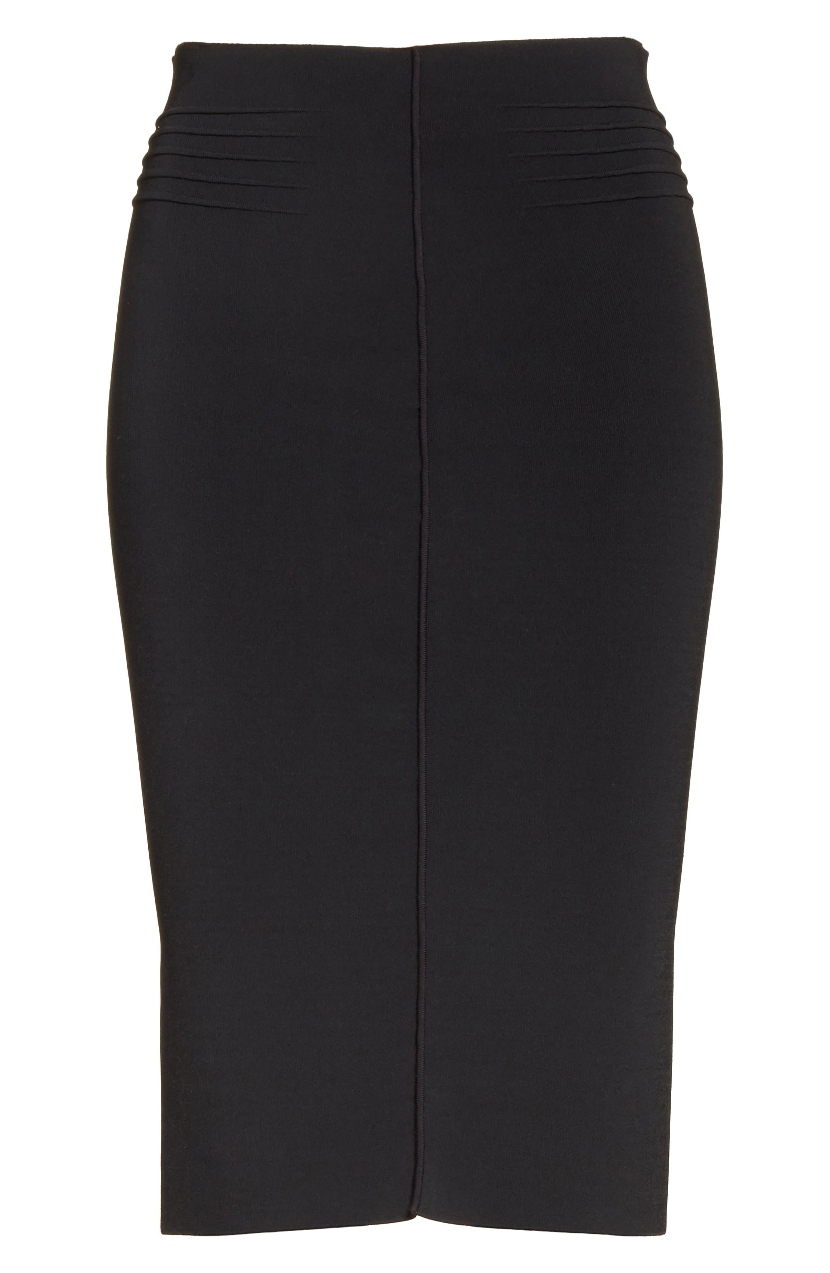 Knit Pencil Skirt,                             Alternate thumbnail 6, color,                             Black