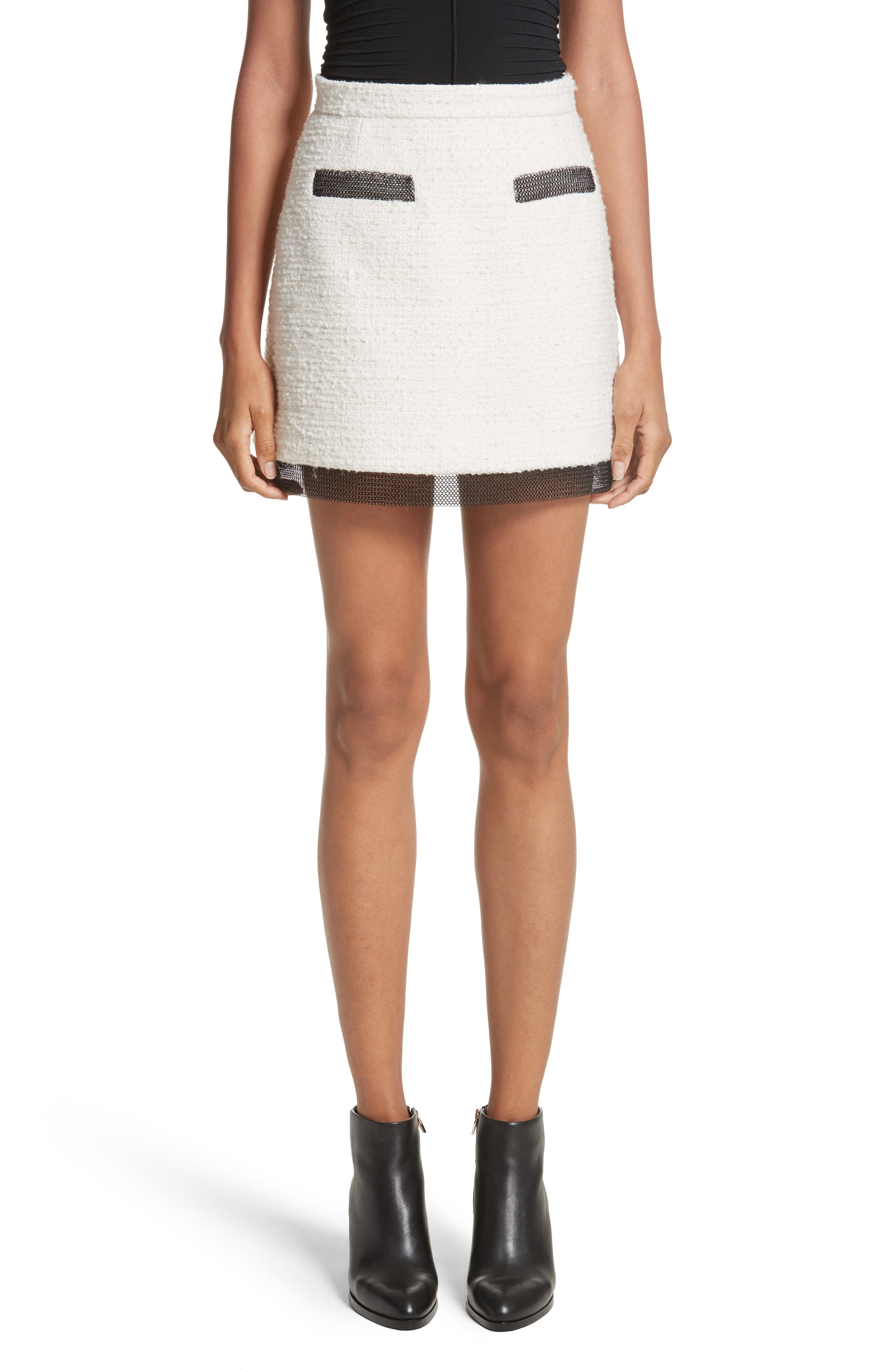 Chain Mail Trim Tweed Miniskirt,                         Main,                         color, Ivory