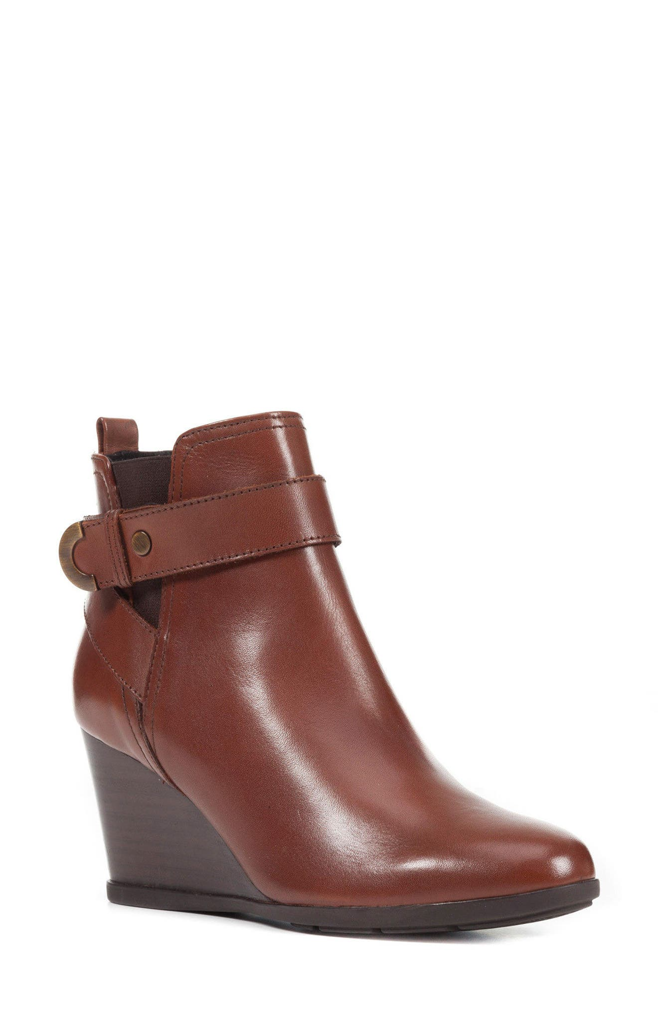 Inspiration Buckle Wedge Bootie,                         Main,                         color, Brown Leather