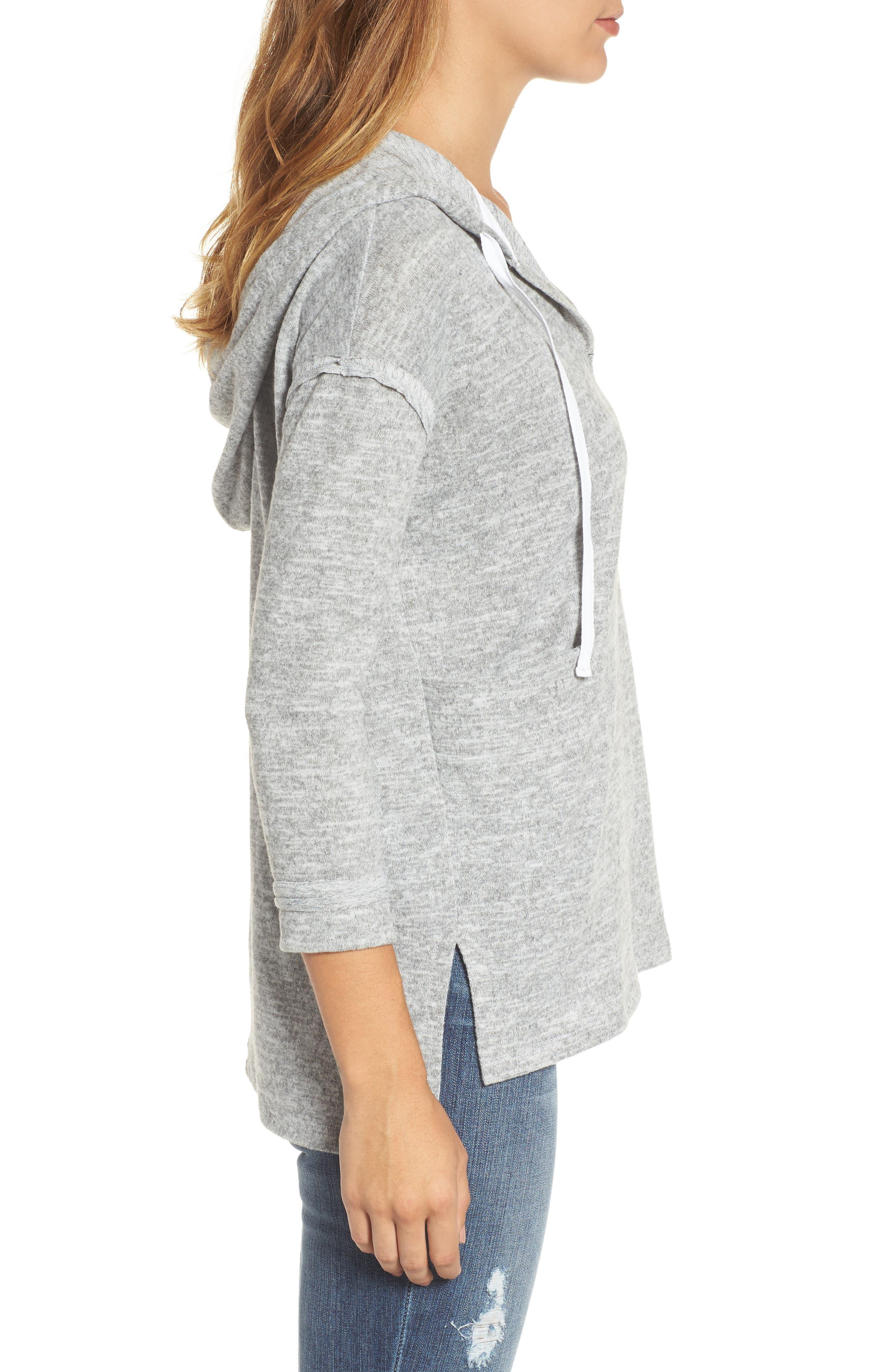 Front Pocket Knit Hoodie,                             Alternate thumbnail 3, color,                             Light Grey