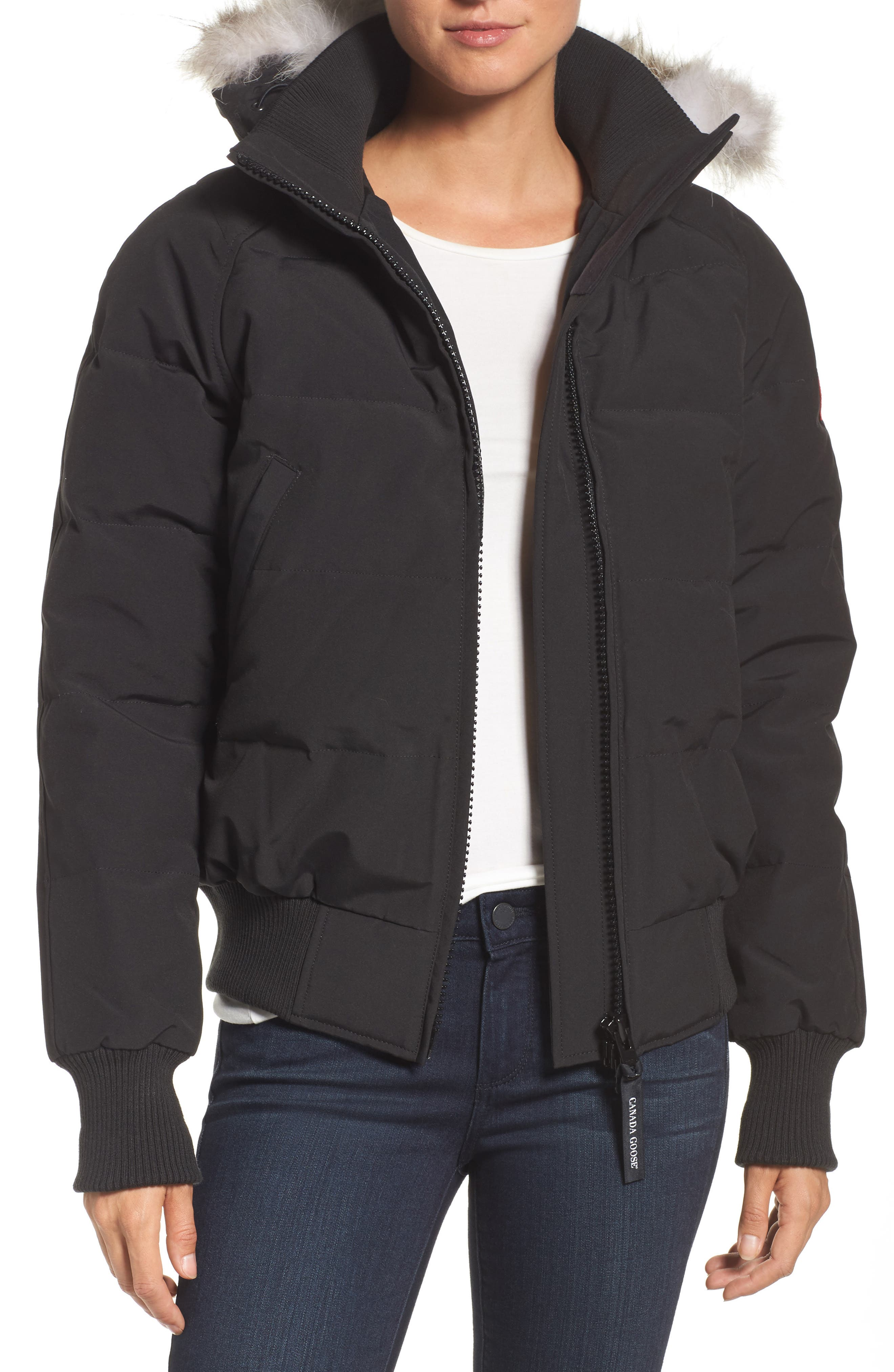 'Savona' Bomber Jacket with Genuine Coyote Fur Trim,                         Main,                         color, Black