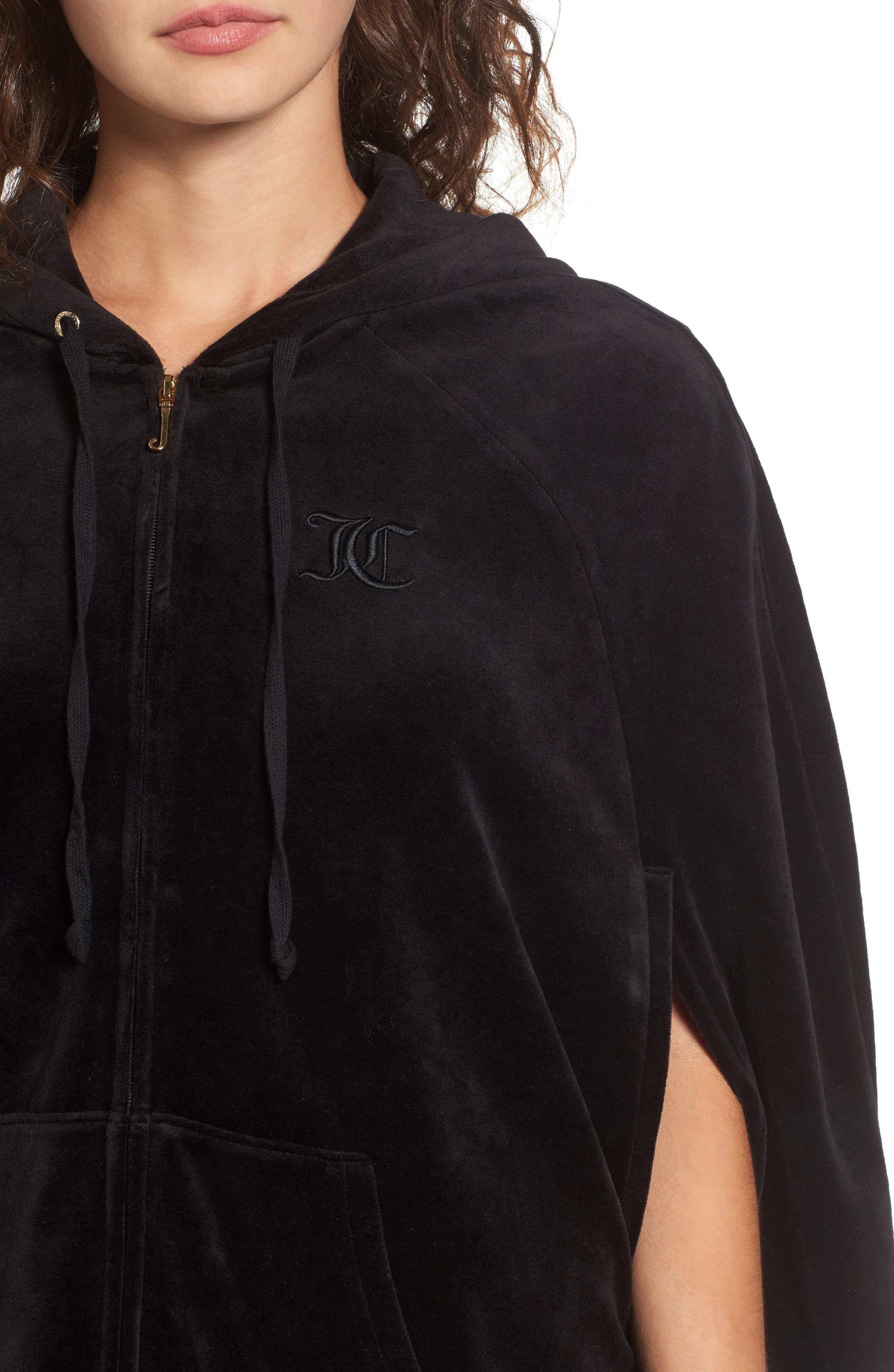 Velour Cape Jacket,                             Alternate thumbnail 4, color,                             Pitch Black