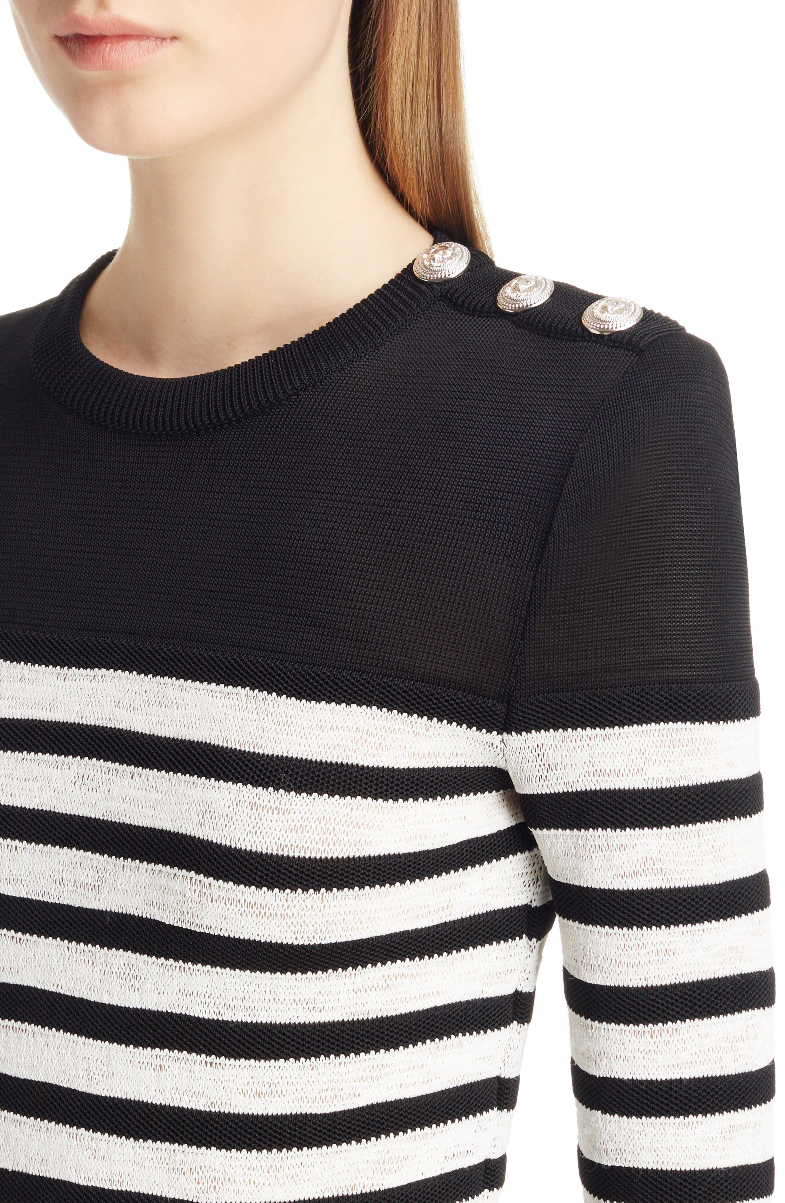 Marine Stripe Knit Sweater,                             Alternate thumbnail 4, color,                             Black And White