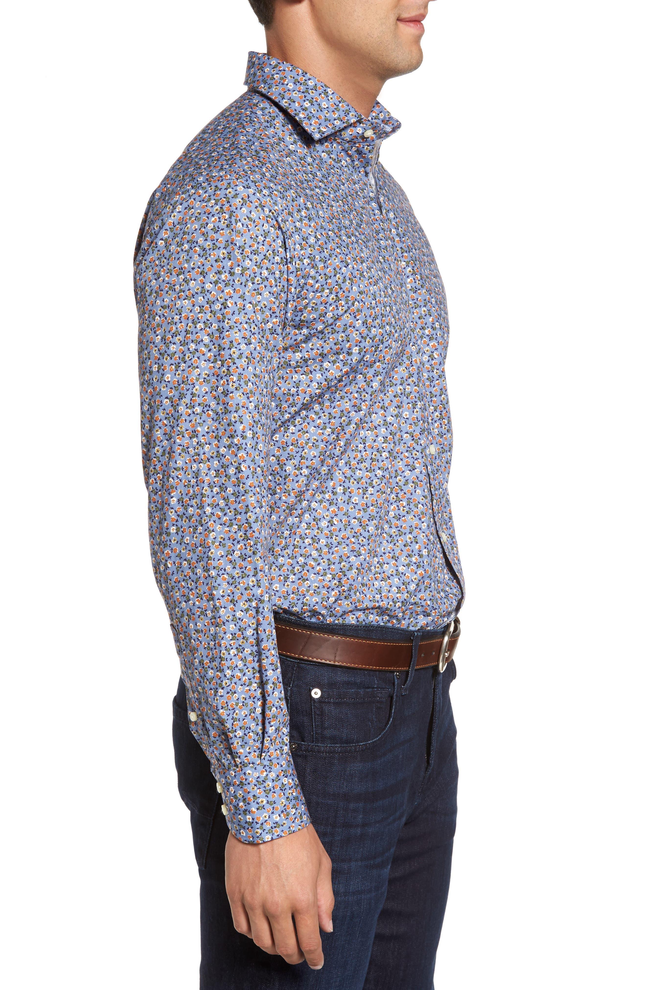 Alternate Image 3  - Thomas Dean Regular Fit Floral Print Sport Shirt