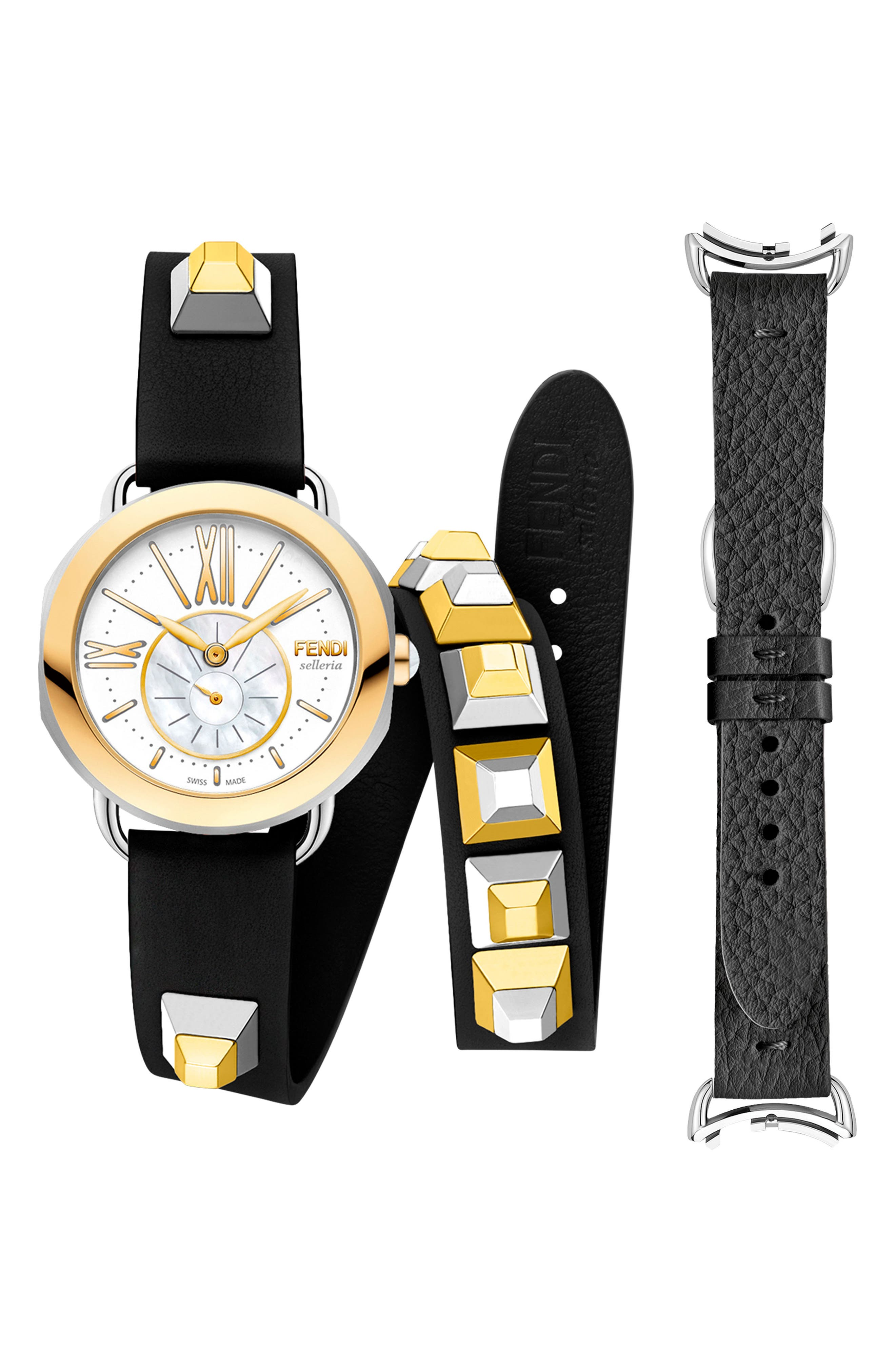 Selleria Leather Strap Watch Set, 36mm,                             Main thumbnail 1, color,                             Red/ Mop/ Gold
