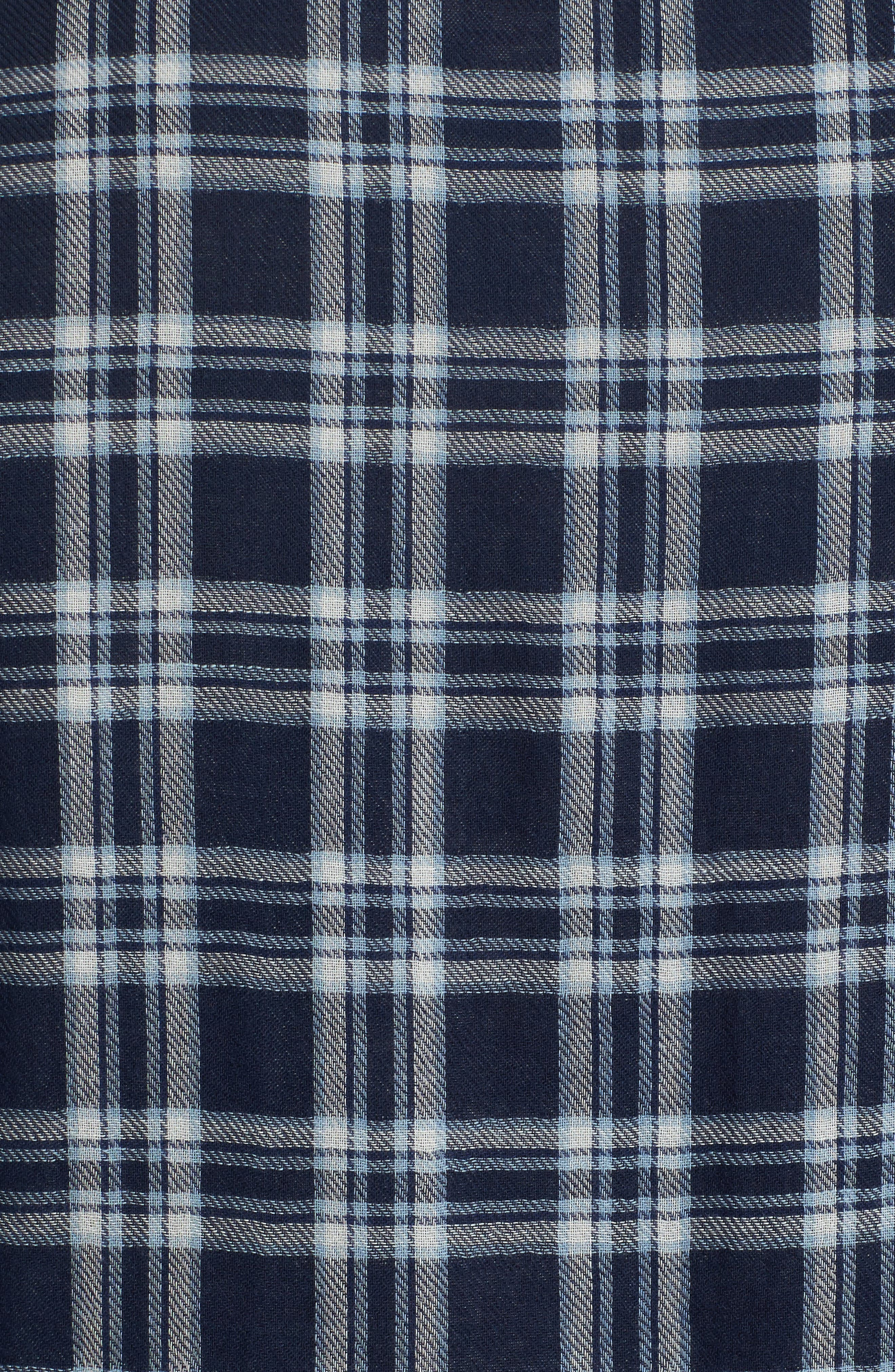 Trim Fit Workwear Duofold Check Sport Shirt,                             Alternate thumbnail 5, color,                             Navy White Chambray Duofold