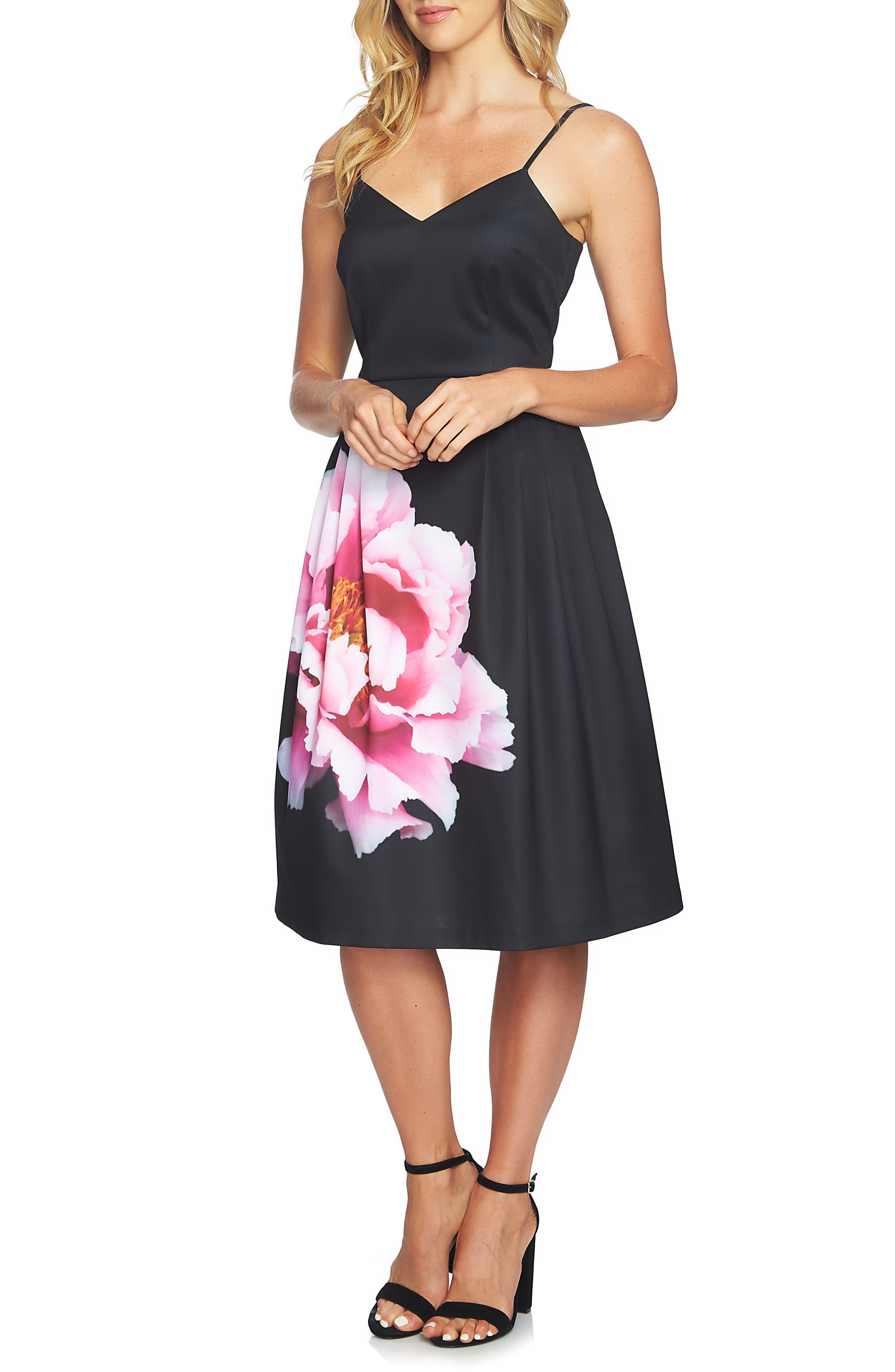 Leah Pleated A-Line Dress,                         Main,                         color, Rich Black