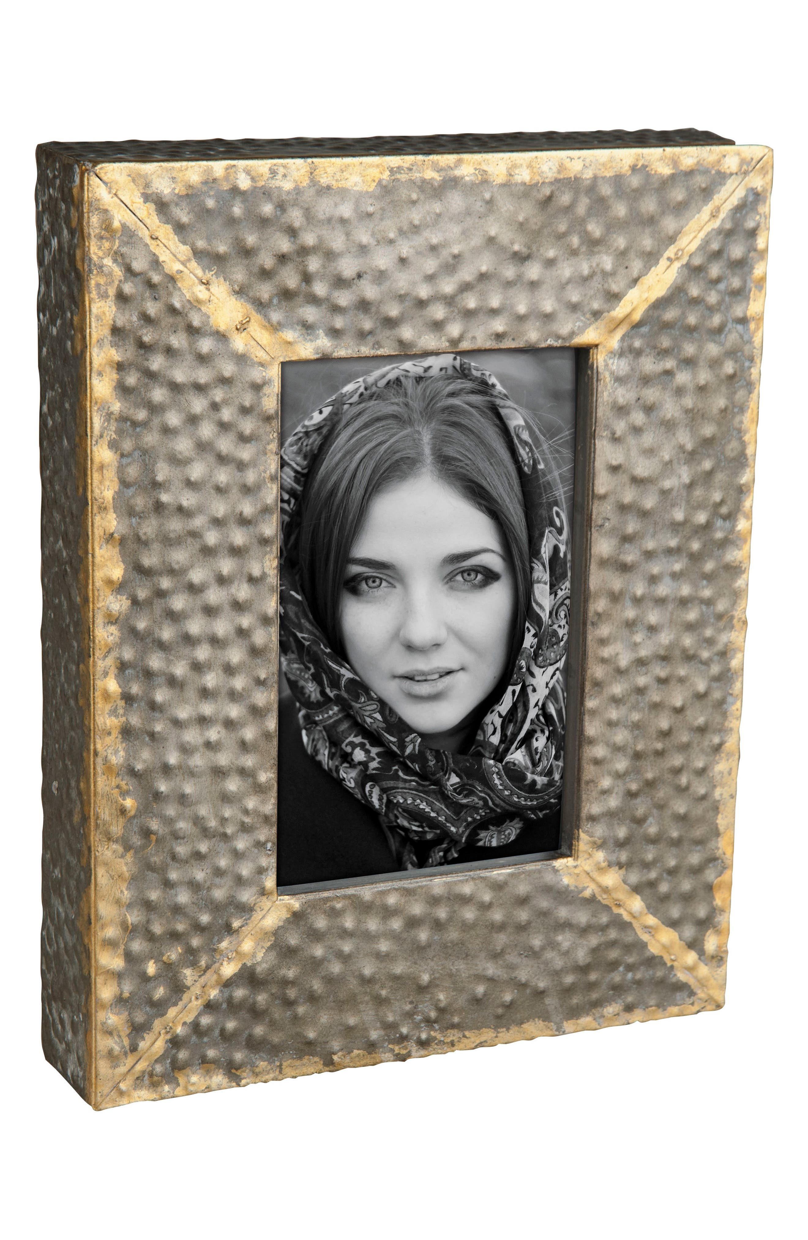 Hammered Metal Picture Frame,                             Main thumbnail 1, color,                             Metal/ Glass