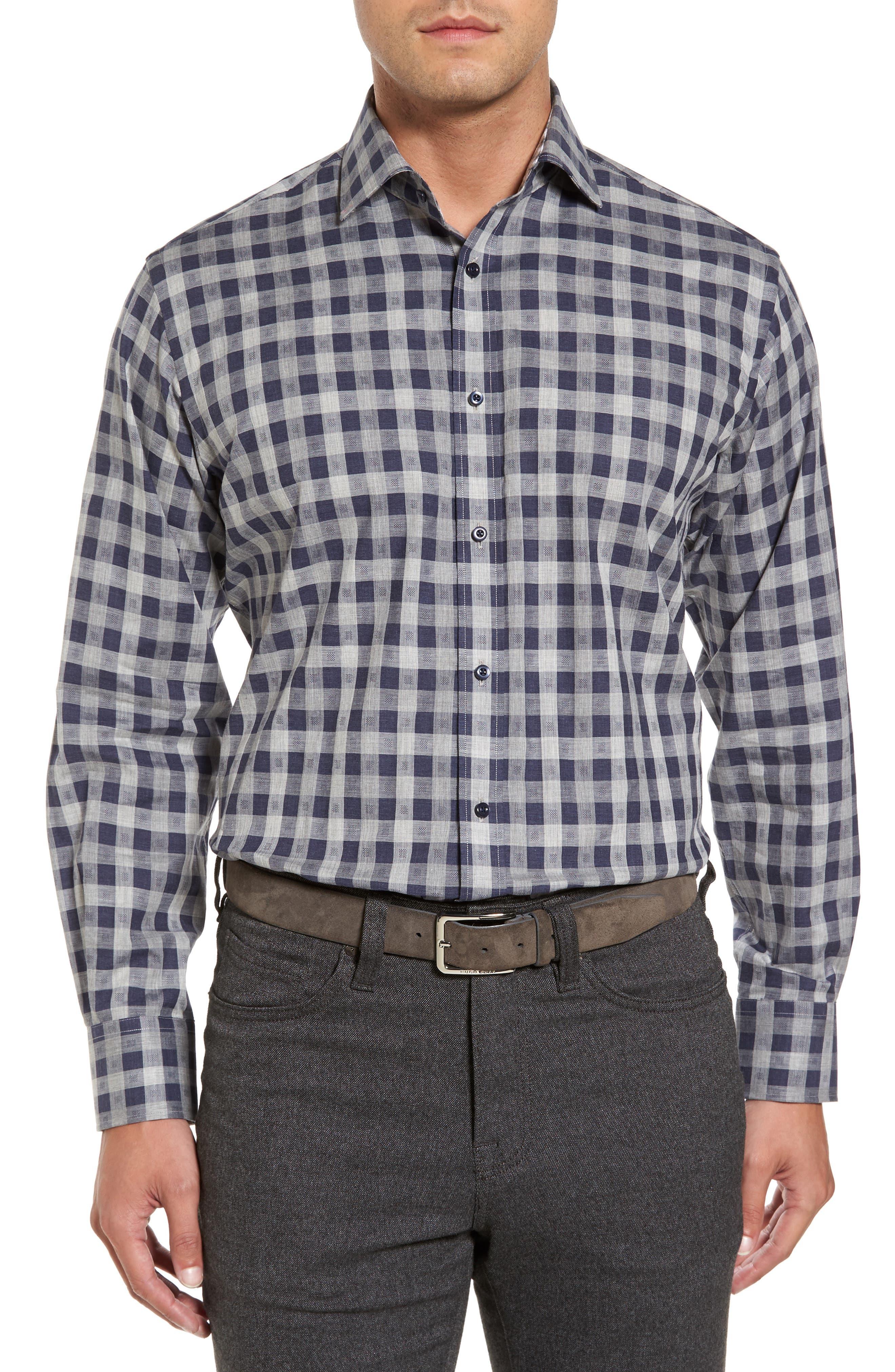 Regular Fit Check Sport Shirt,                             Main thumbnail 1, color,                             Navy