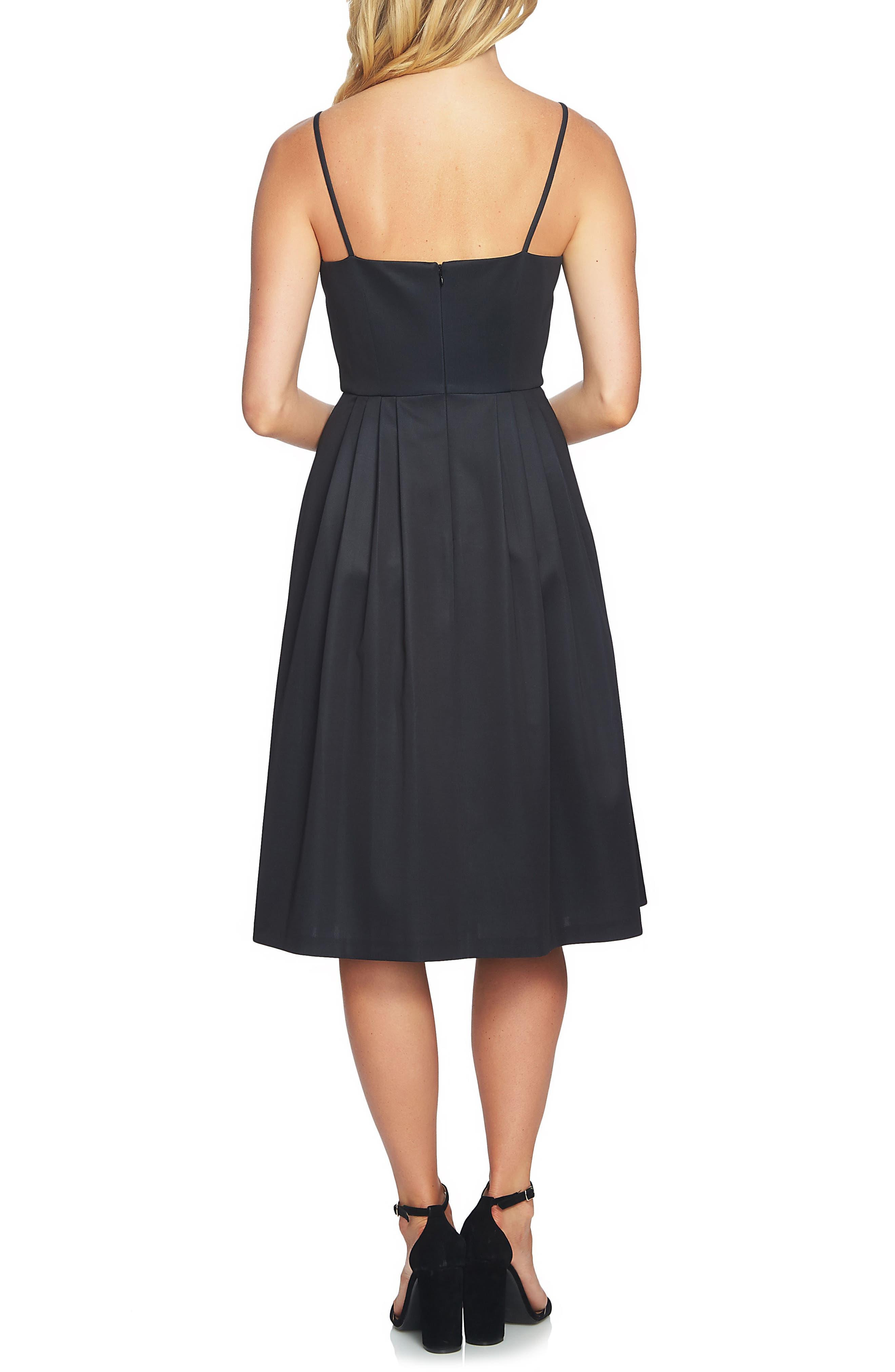 Leah Pleated A-Line Dress,                             Alternate thumbnail 2, color,                             Rich Black