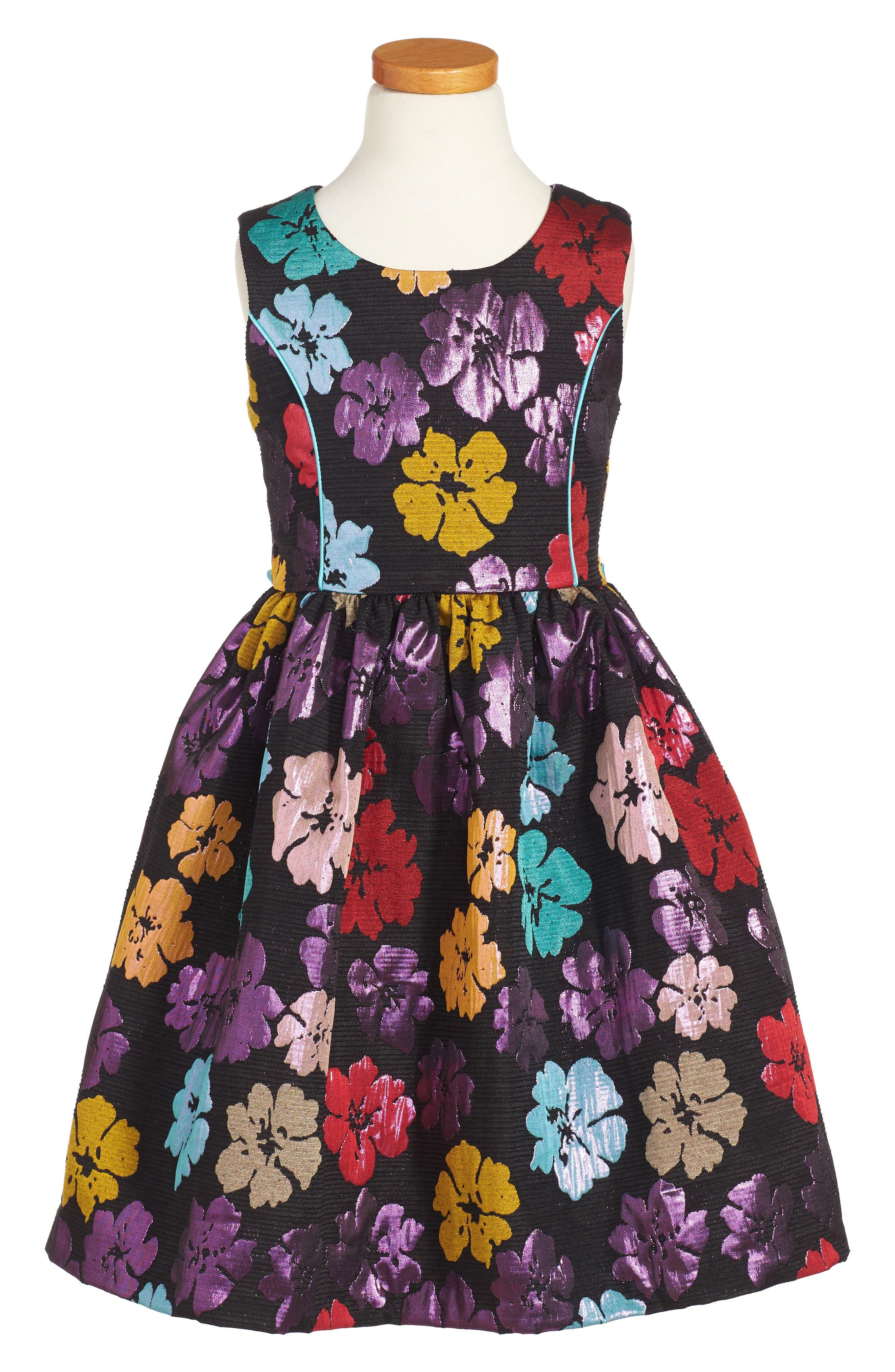Frais Metallic Floral Dress (Toddler Girls, Little Girls & Big Girls)