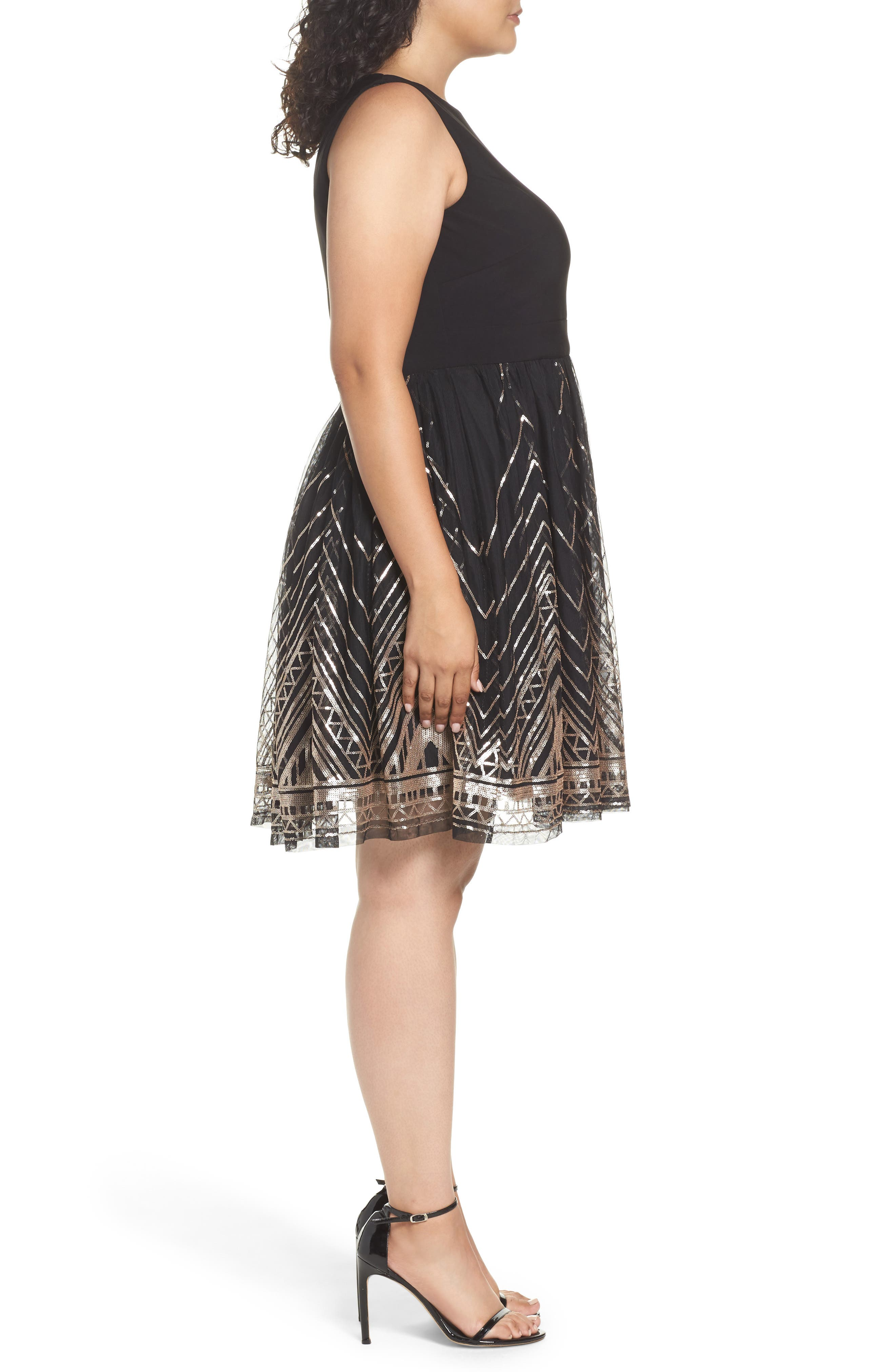 Alternate Image 3  - Vince Camuto Sequin Fit & Flare Dress (Plus Size)