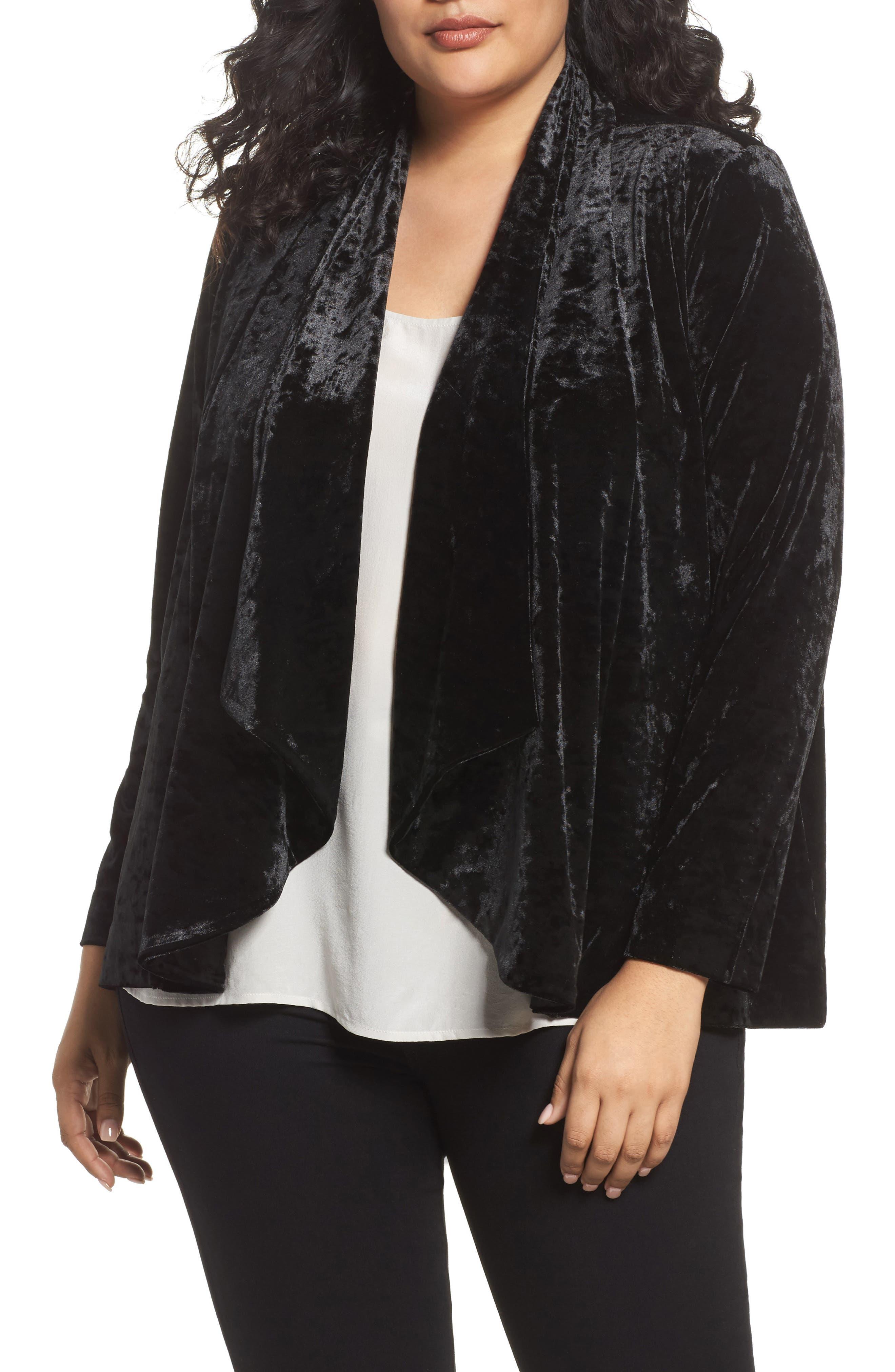 Main Image - Vince Camuto Velvet Drape Collar Jacket (Plus Size)