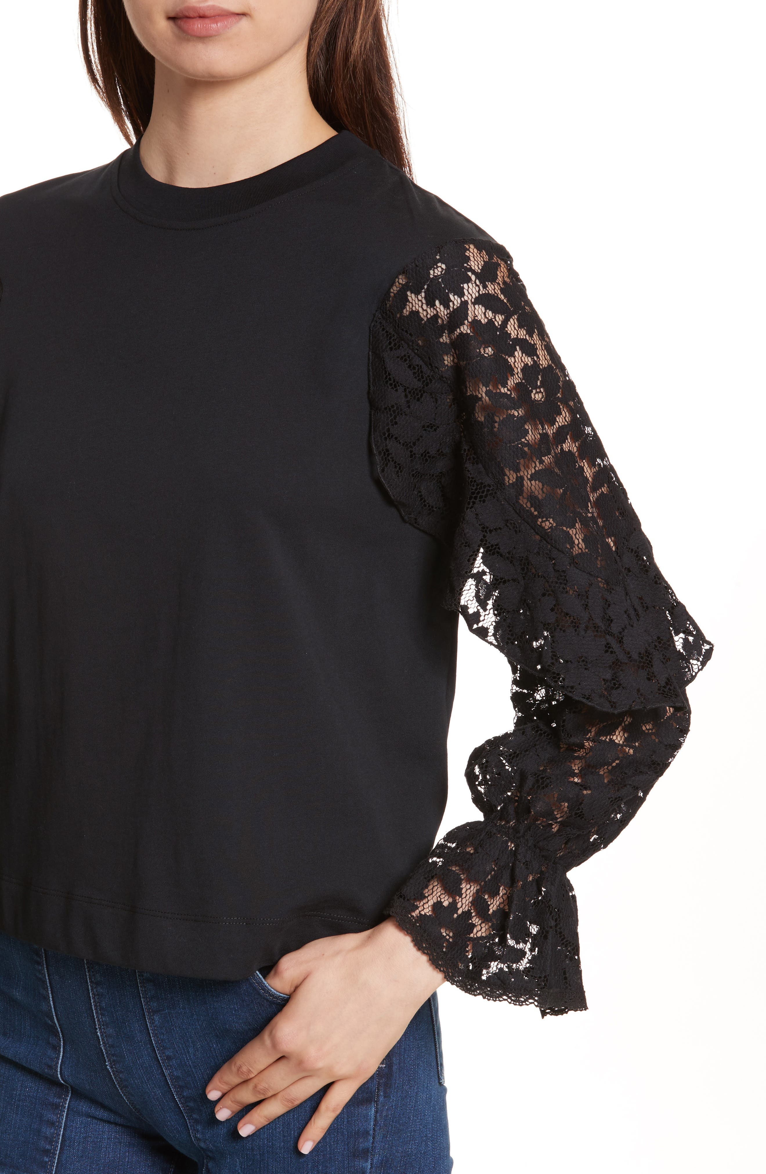 Alternate Image 4  - See by Chloé Ruffle Sleeve Sweater