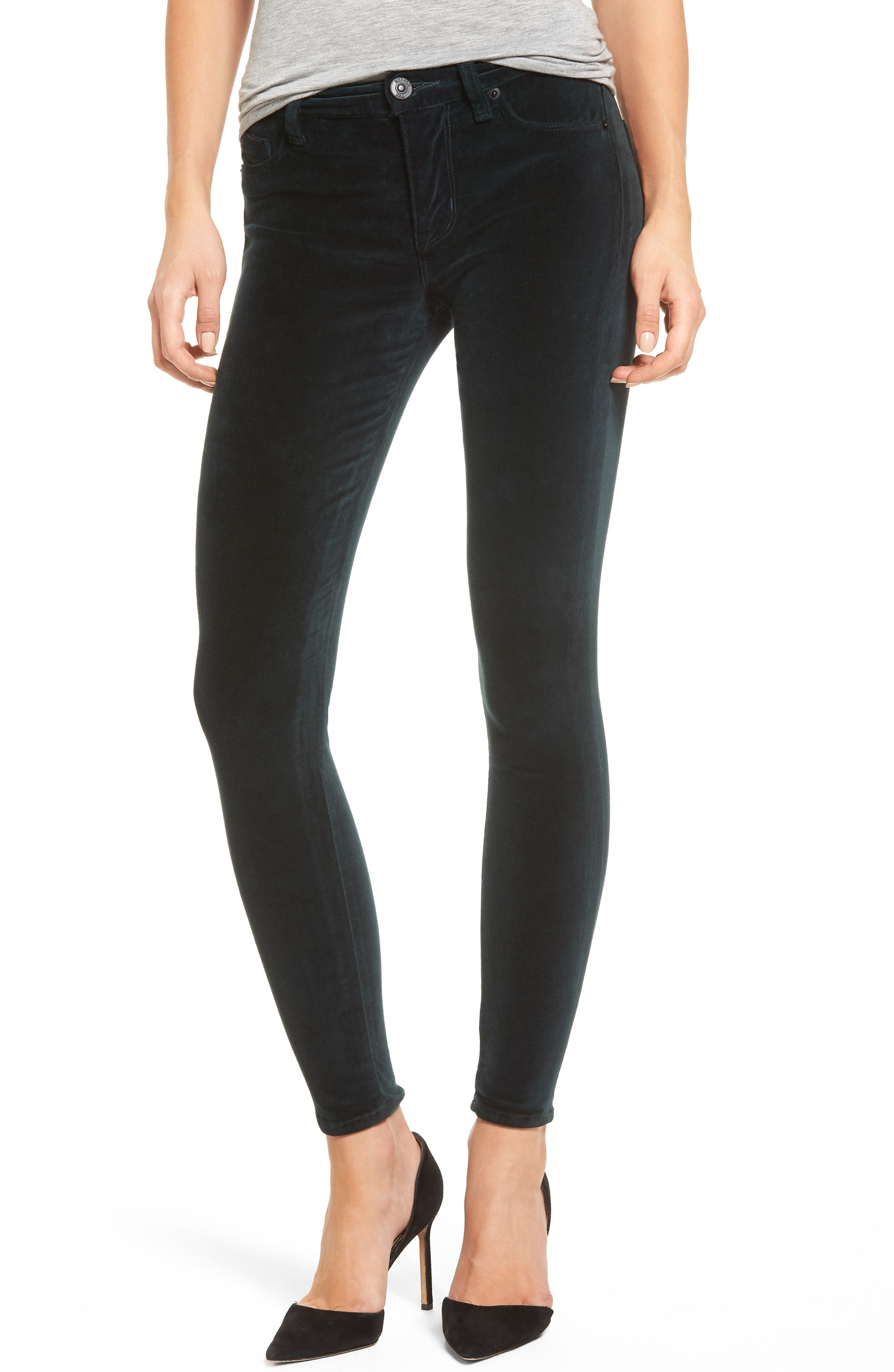 Barbara High Waist Ankle Super Skinny Jeans,                         Main,                         color, Agave