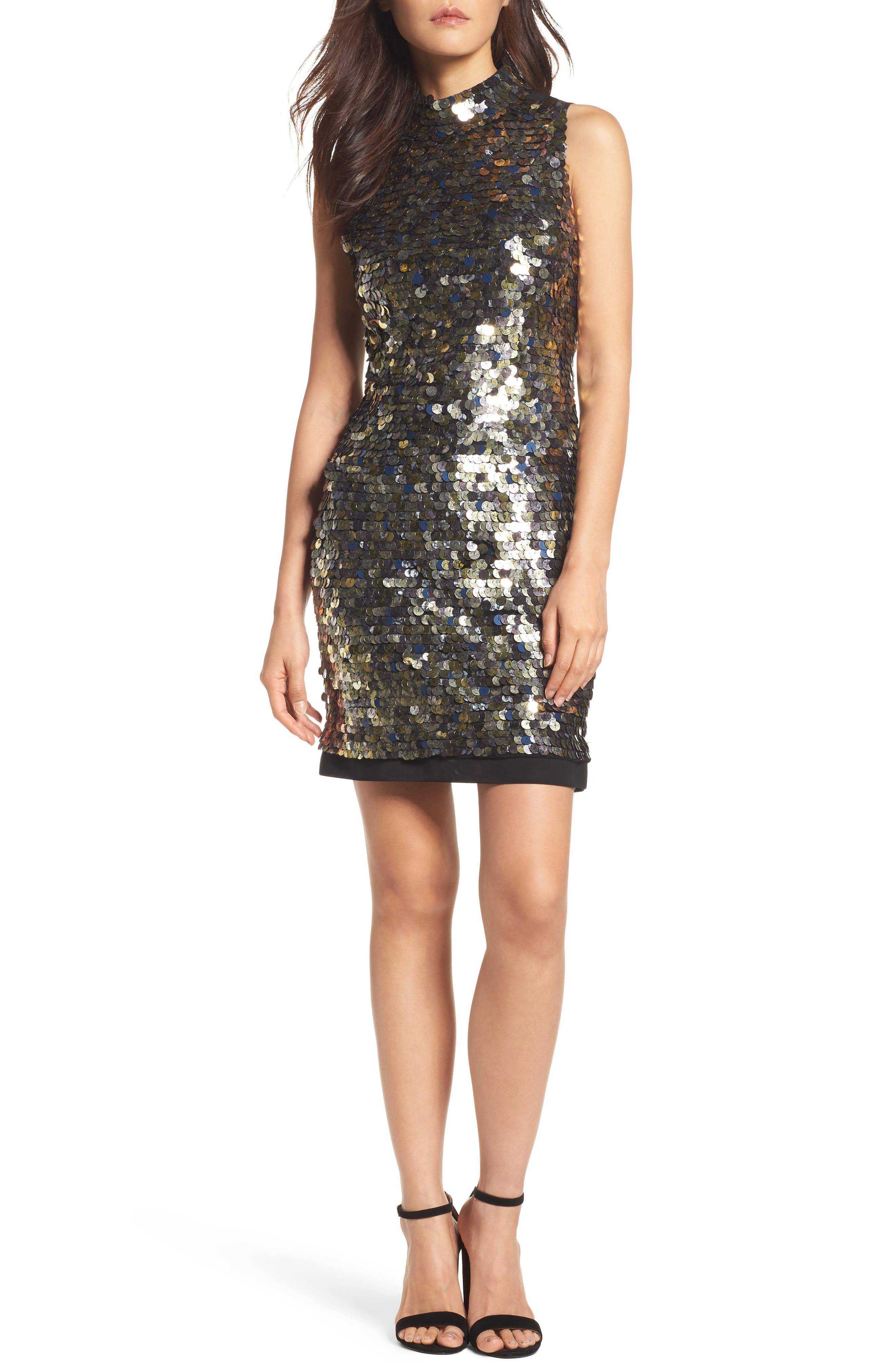 French Connection Moon Rock Sparkle Sheath Dress
