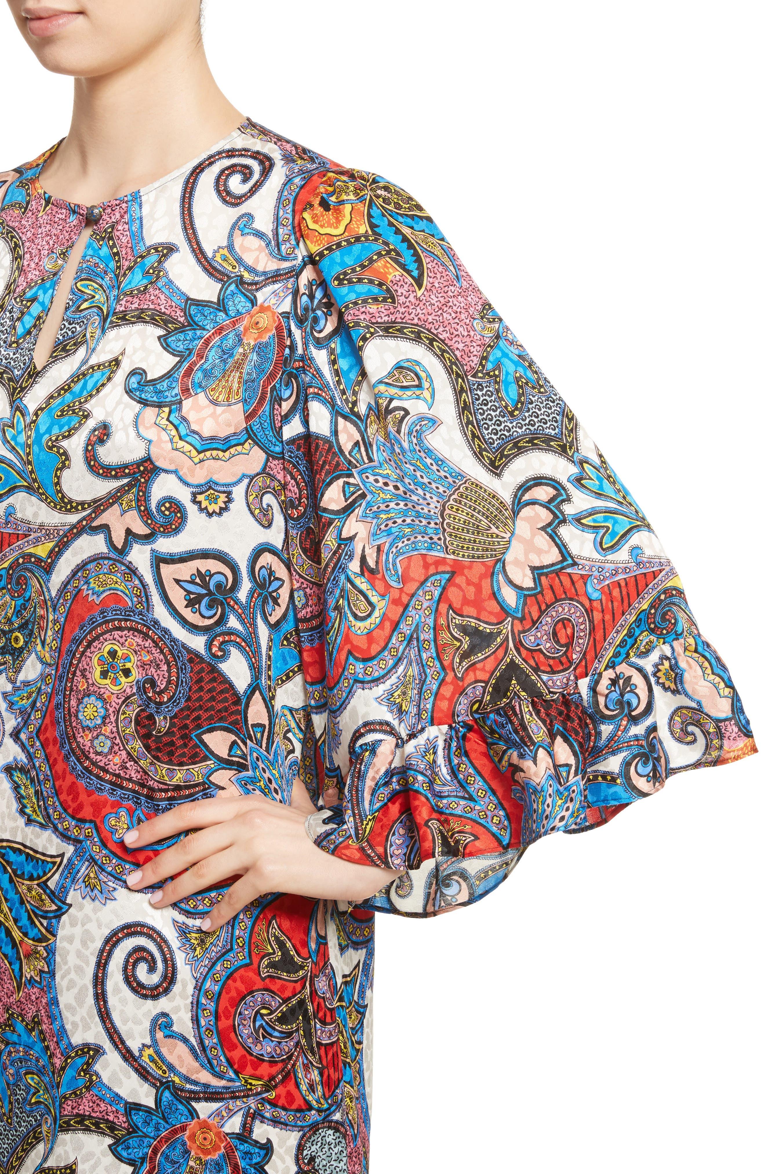Paisley Print Silk Flutter Sleeve Dress,                             Alternate thumbnail 4, color,                             Multi