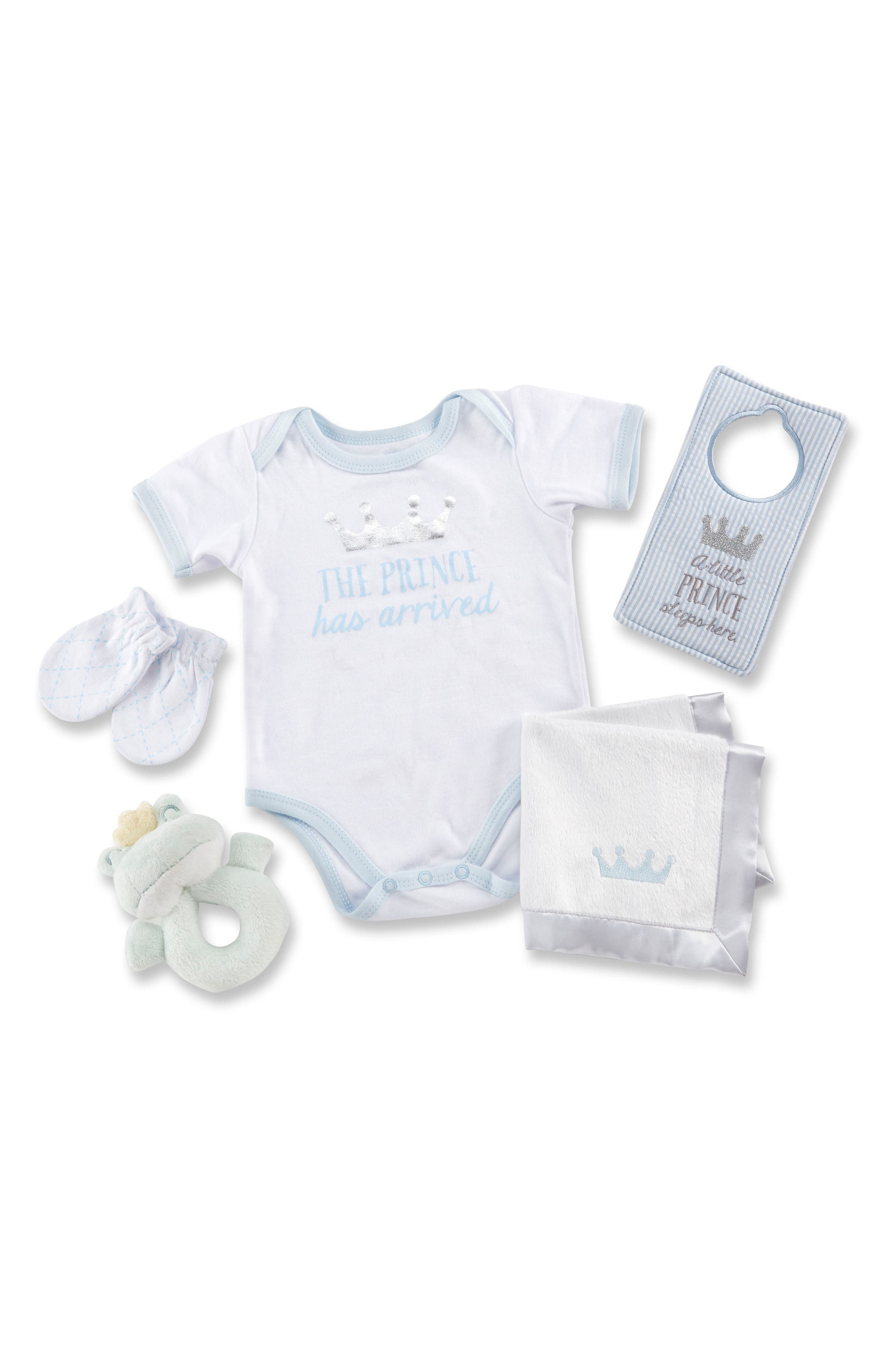 Little Prince Welcome Home Gift Set,                         Main,                         color, White, Blue, Silver And Green