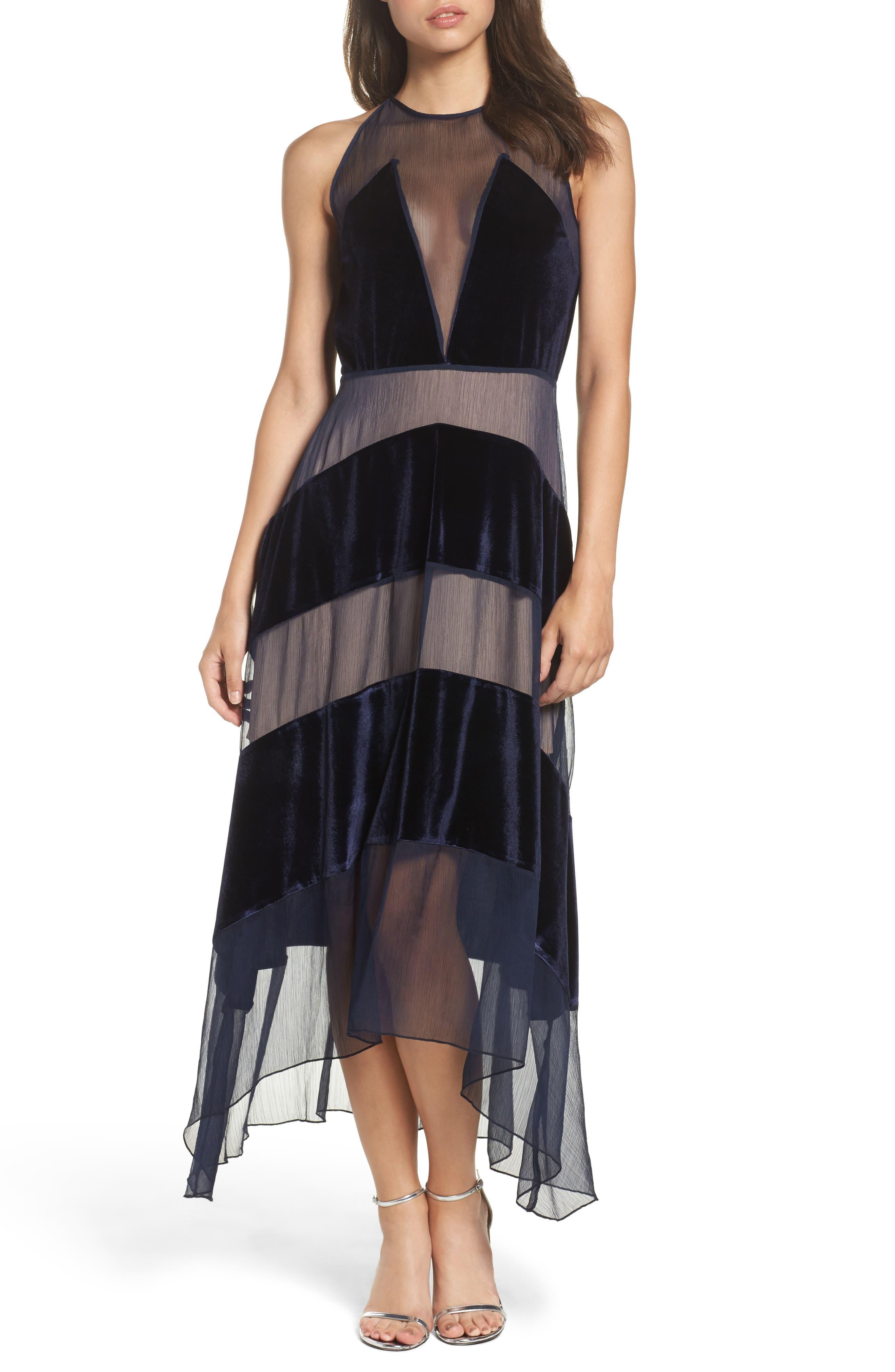 Velvet Stripe Midi Dress,                         Main,                         color, Royal Blue