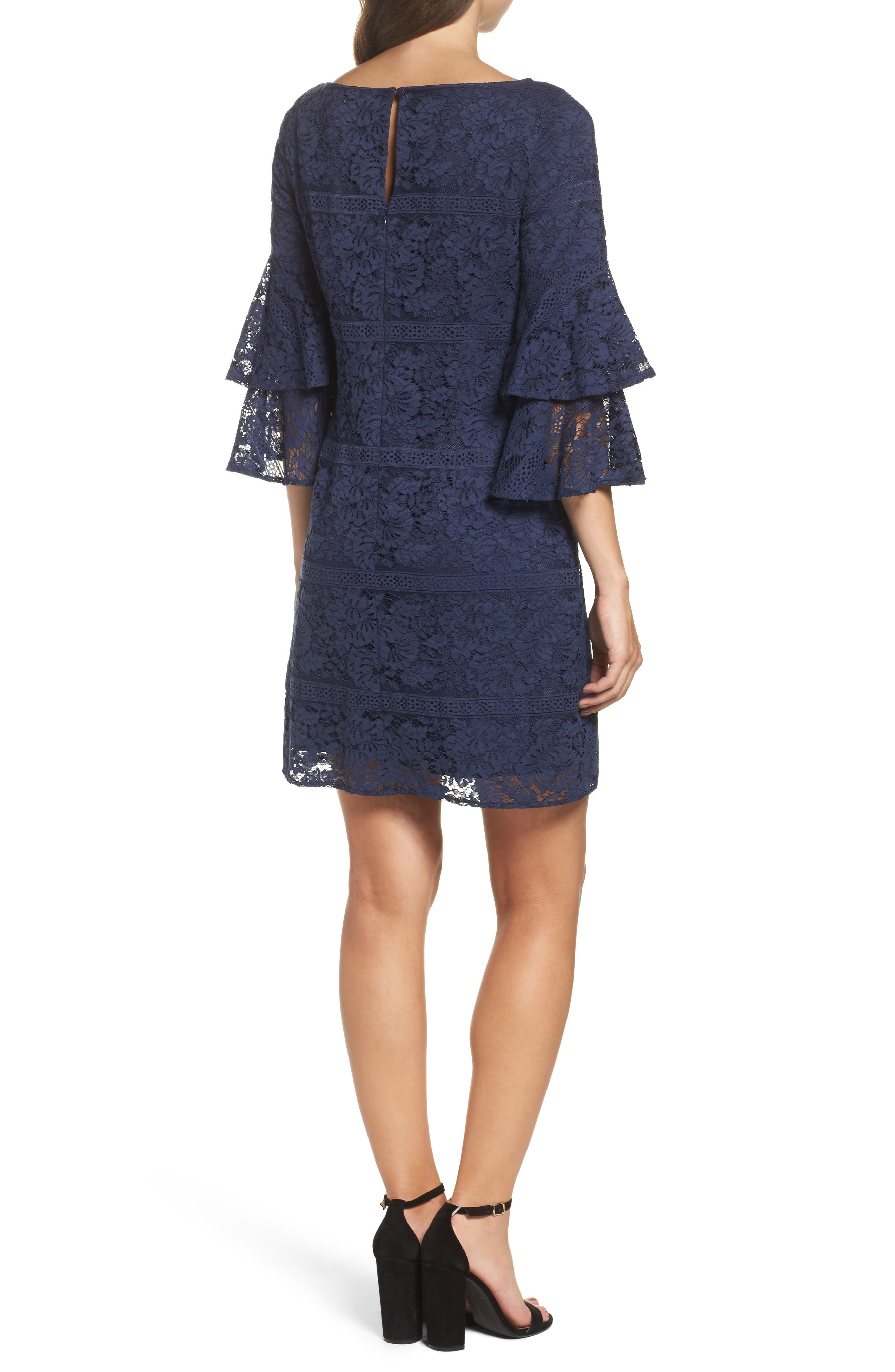 Tiered Sleeve Lace Shift Dress,                             Alternate thumbnail 2, color,                             Navy