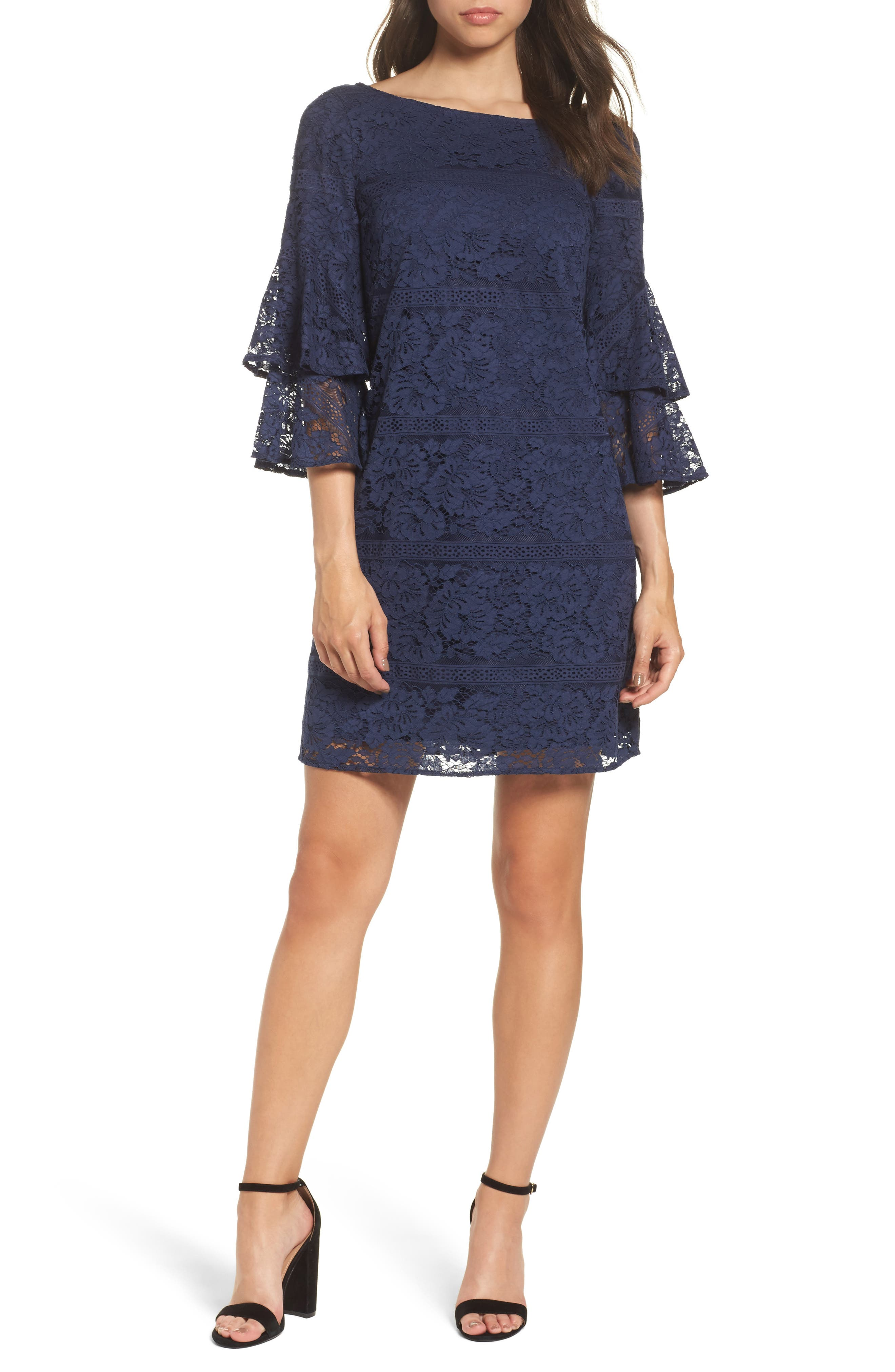 Tiered Sleeve Lace Shift Dress,                         Main,                         color, Navy