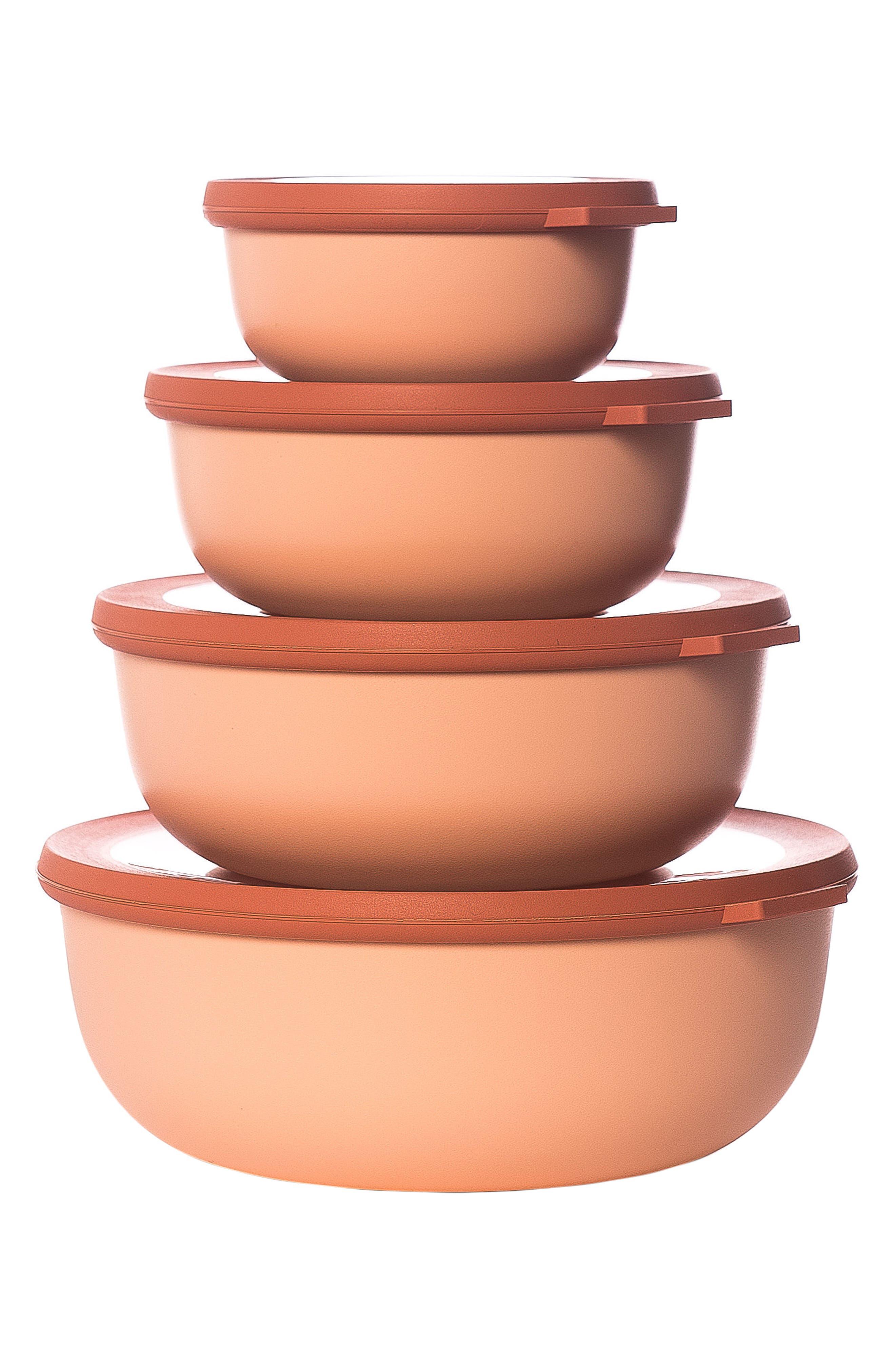 Cirqula Set of 4 Storage Bowls,                         Main,                         color, Blush