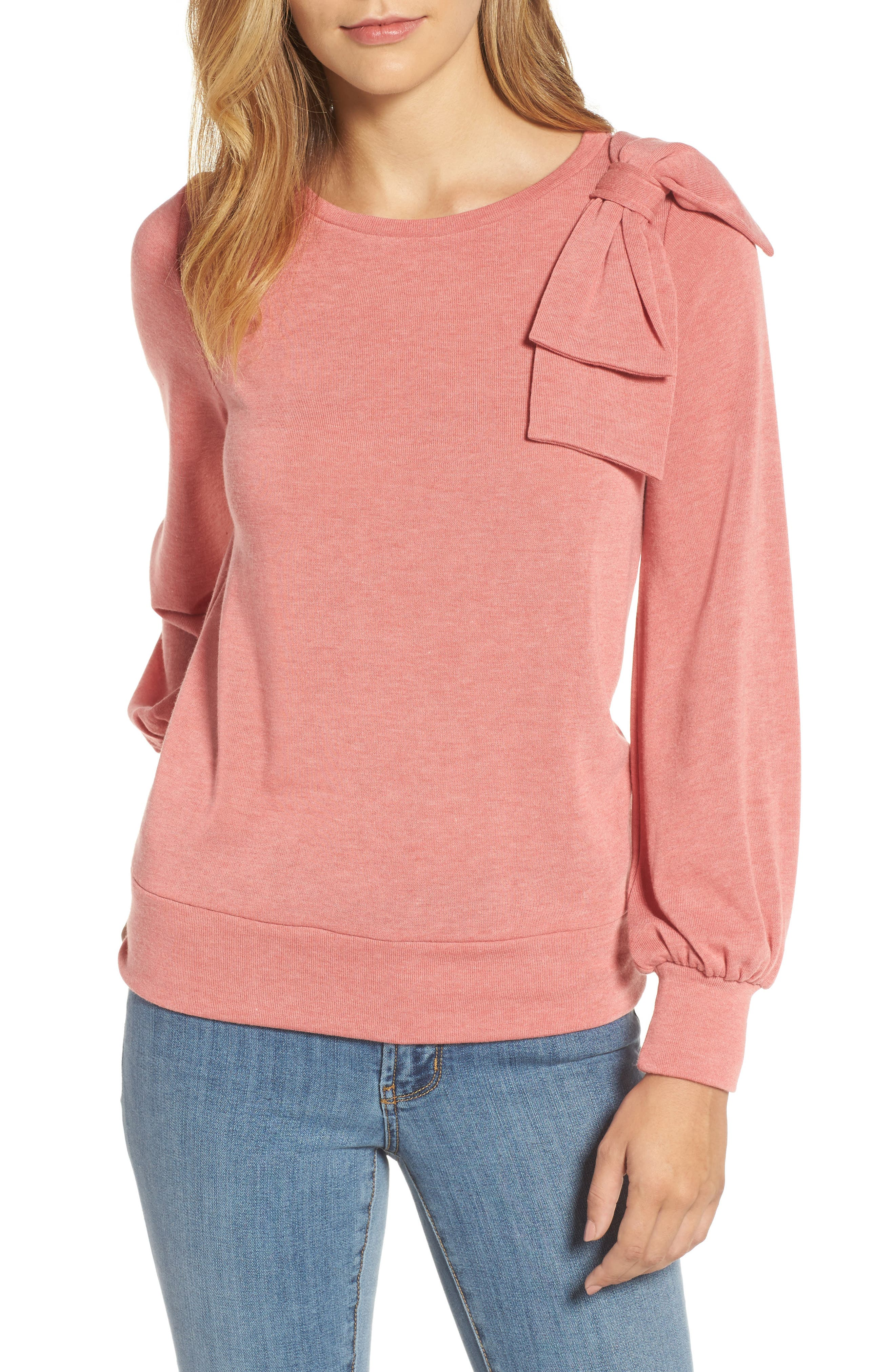 Halogen® Bow Knit Sweatshirt