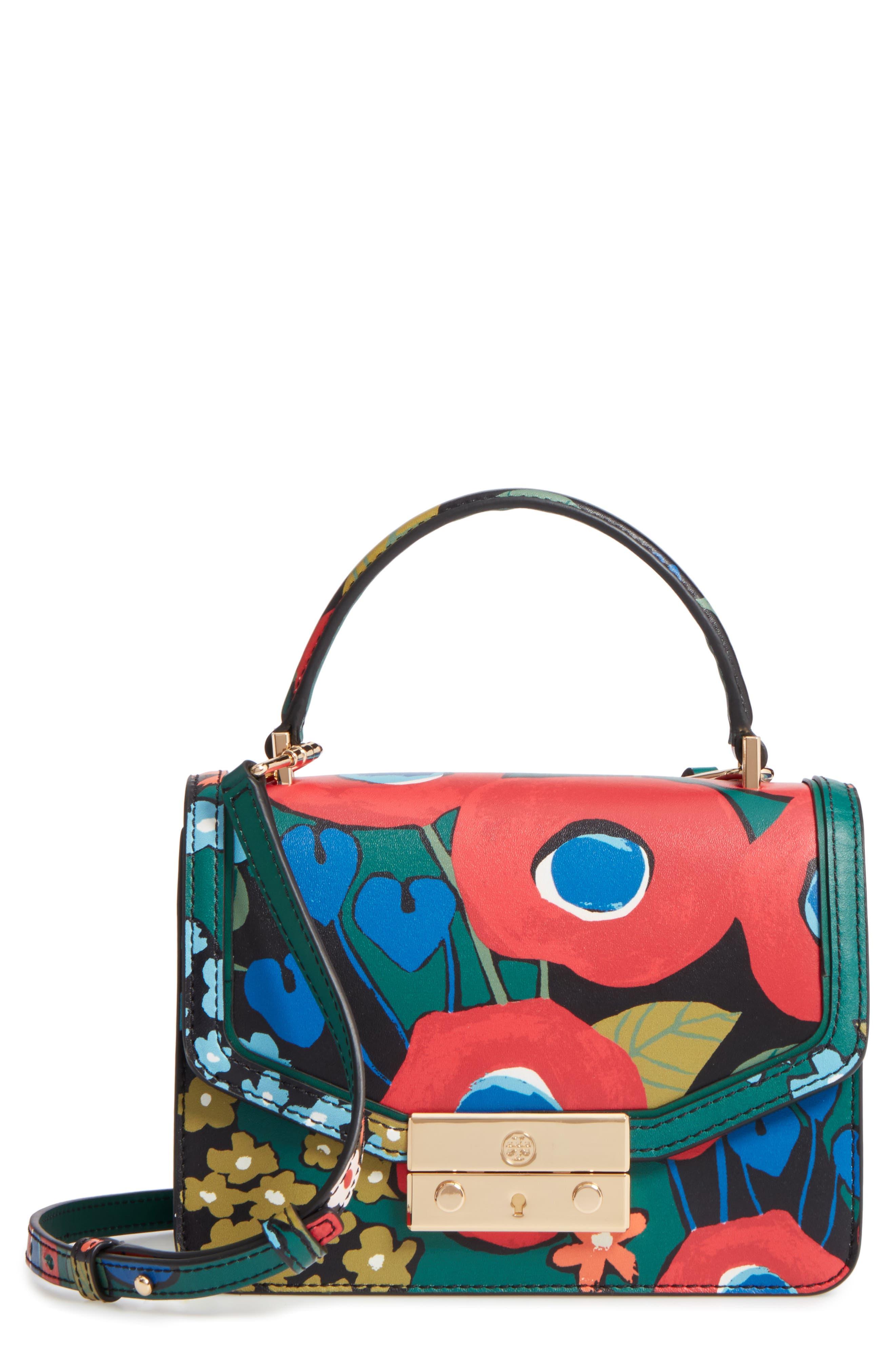 Mini Juliette Leather Top Handle Satchel,                             Main thumbnail 1, color,                             Darling Floral