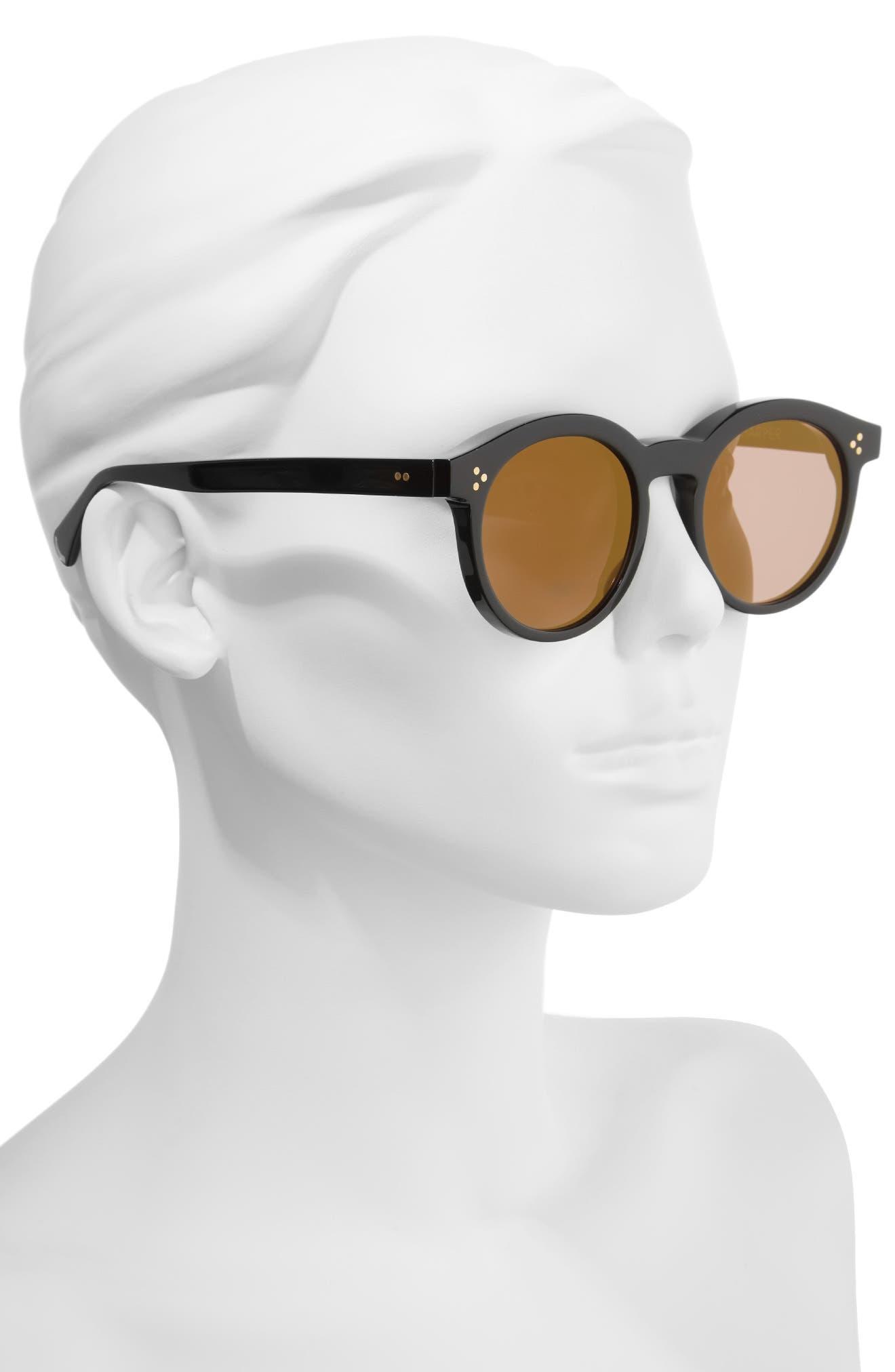 Harper Zero 53mm Round Keyhole Sunglasses,                             Alternate thumbnail 2, color,                             Black/ Gold