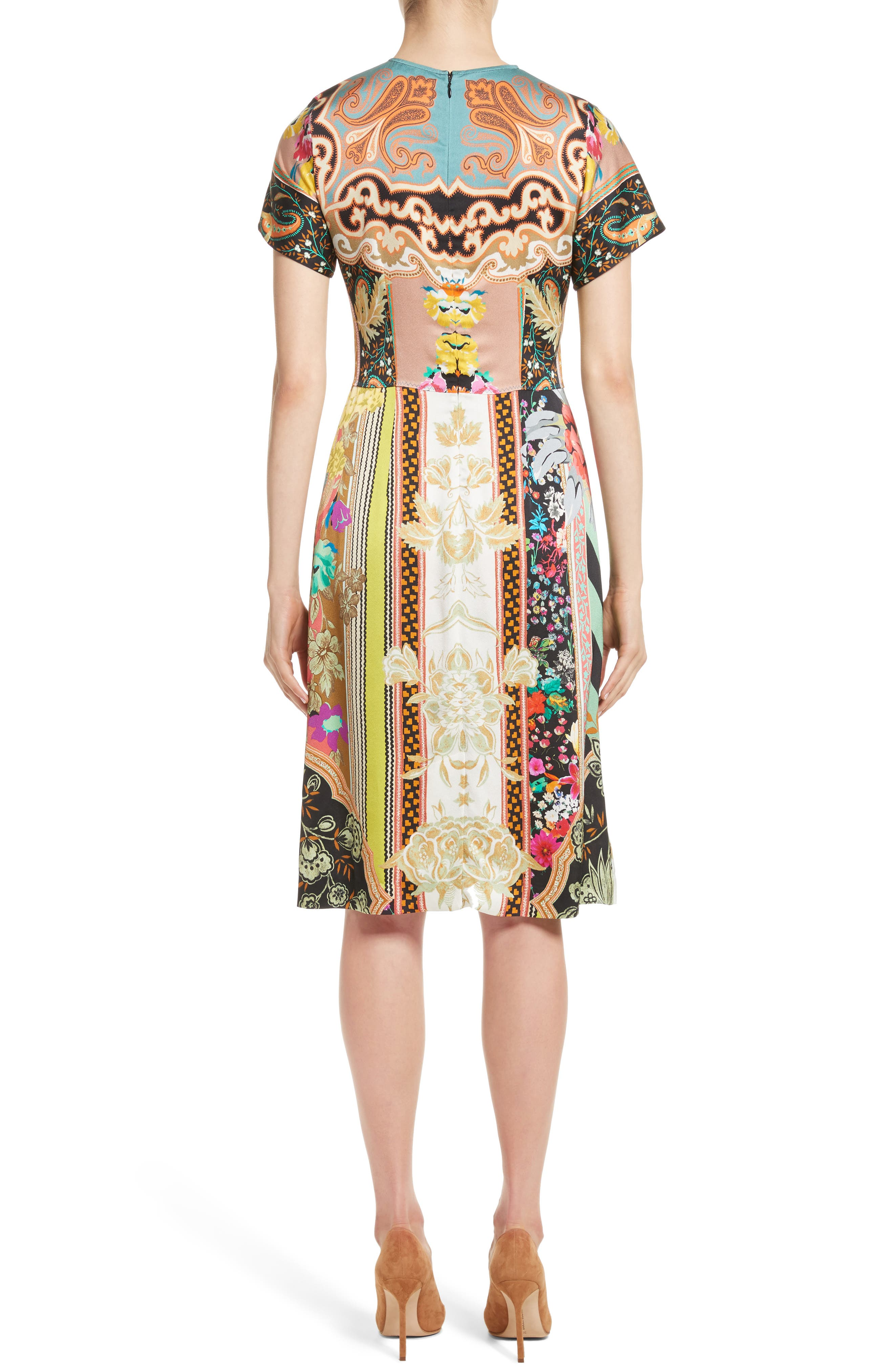 Pillar Paisley Print Dress,                             Alternate thumbnail 2, color,                             Black