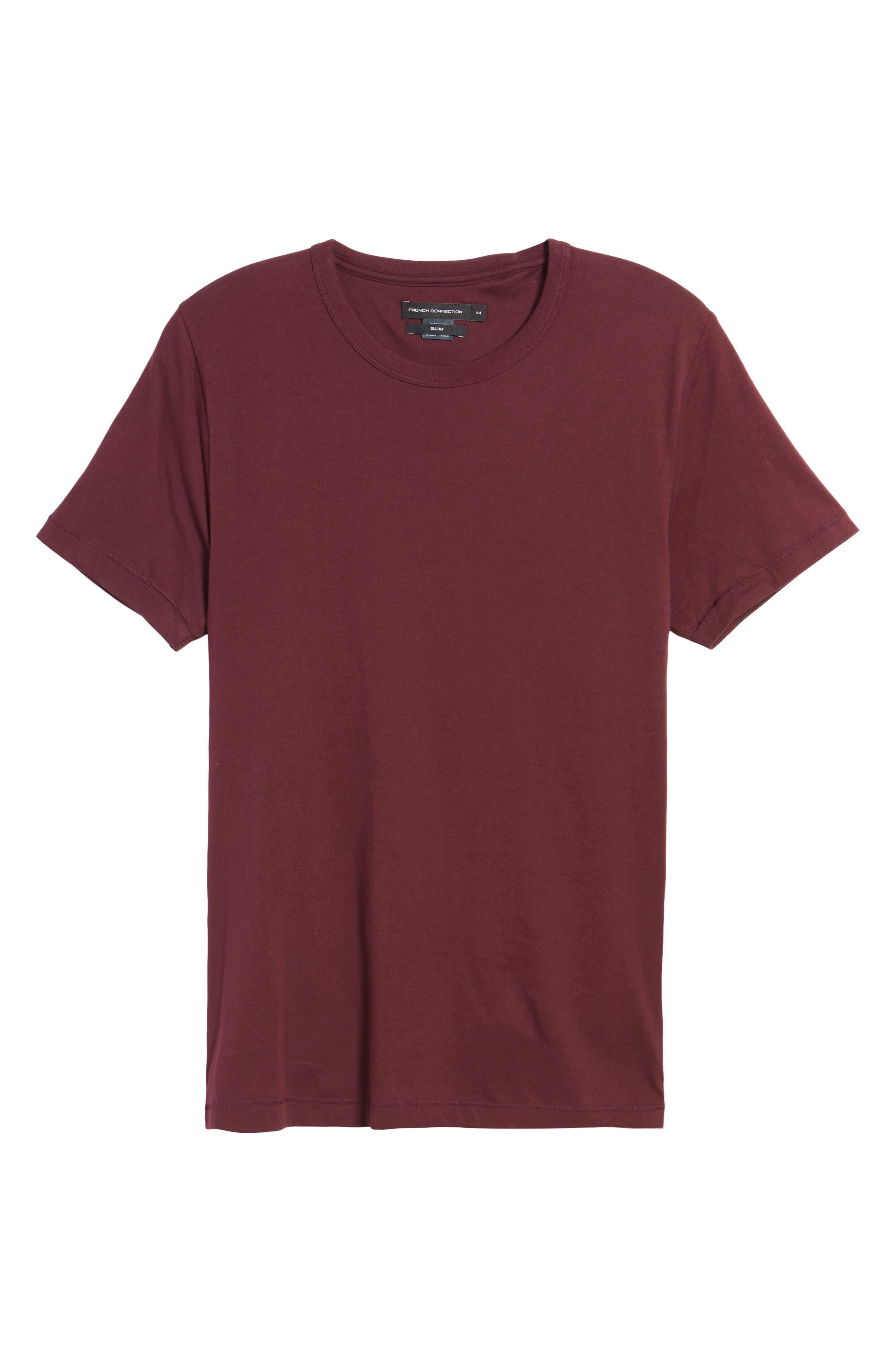 Slim Fit Crewneck T-Shirt,                             Alternate thumbnail 6, color,                             Bordeaux