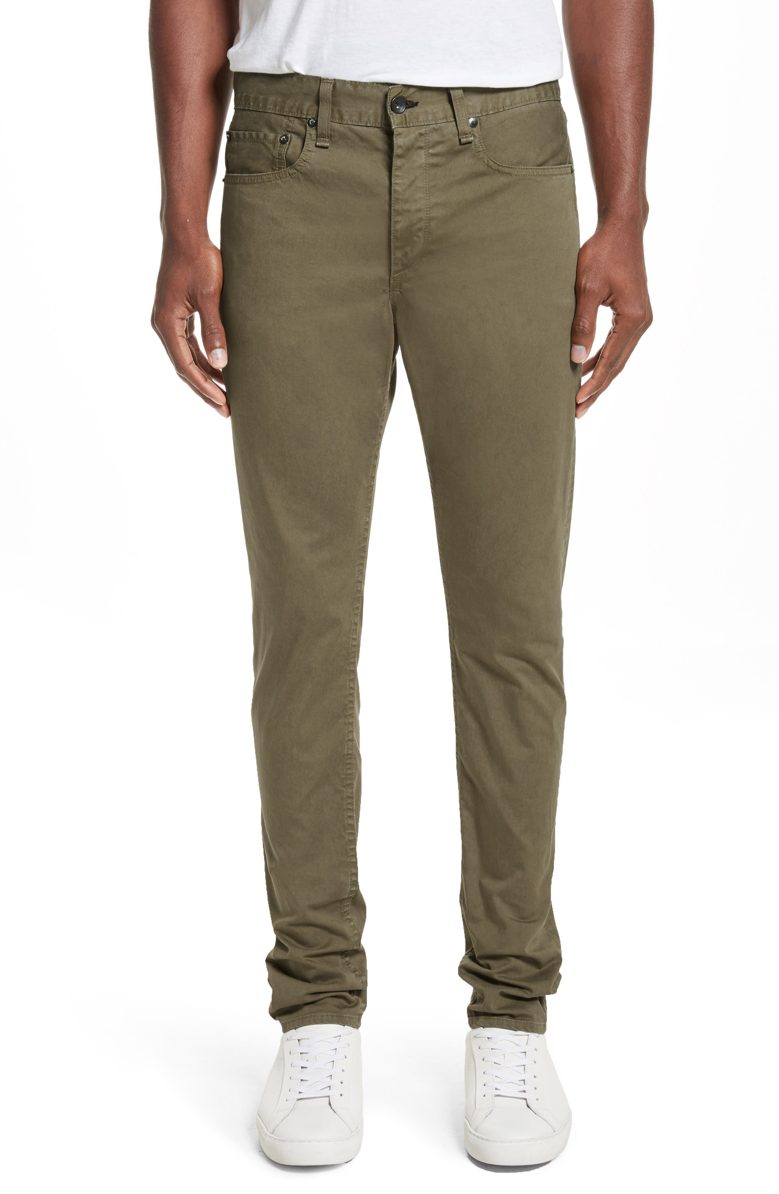 Fit 1 Twill Skinny Fit Pants,                         Main,                         color, Army