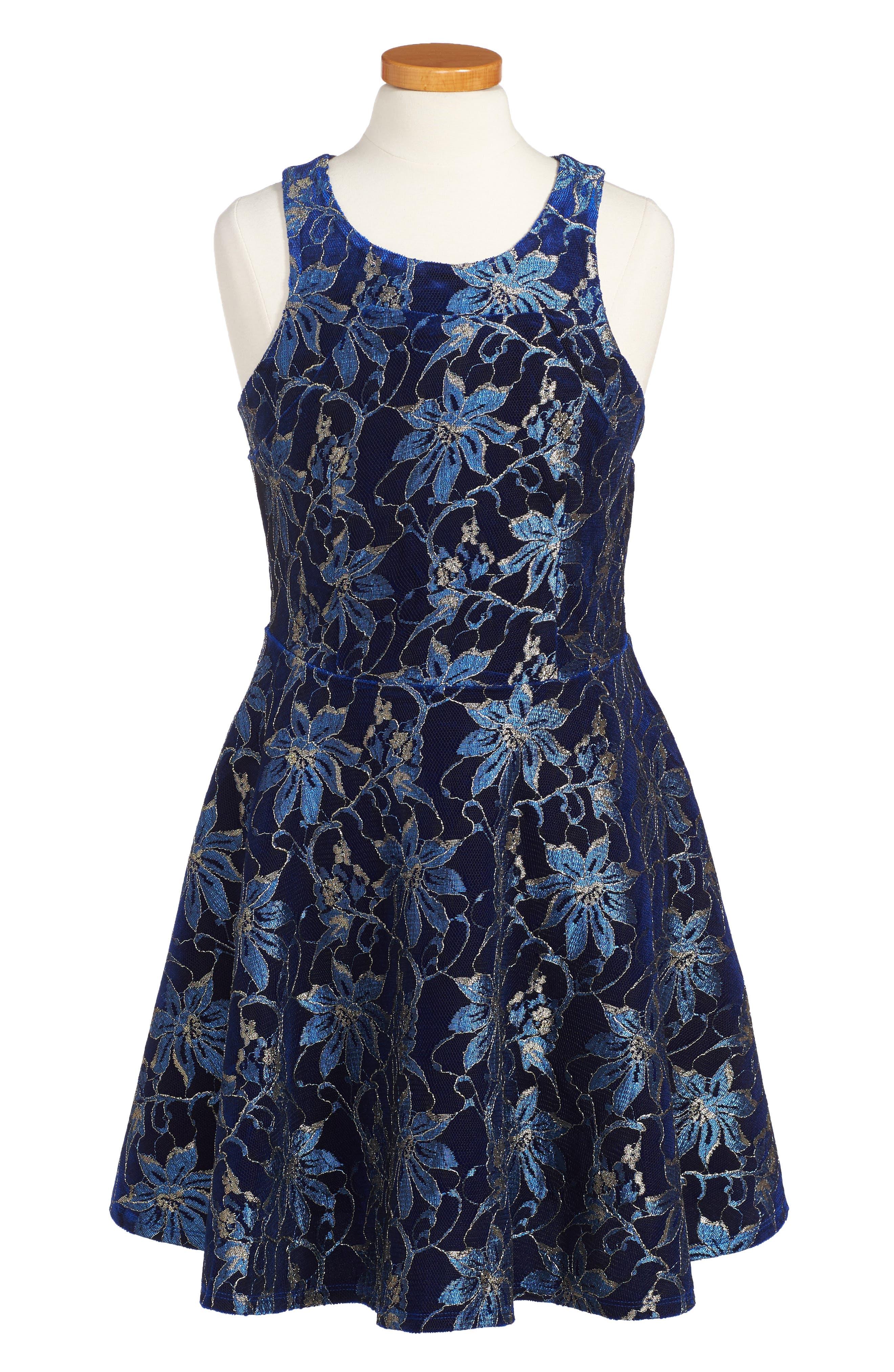 Heather Floral Mesh Dress,                             Main thumbnail 1, color,                             Royal Blue