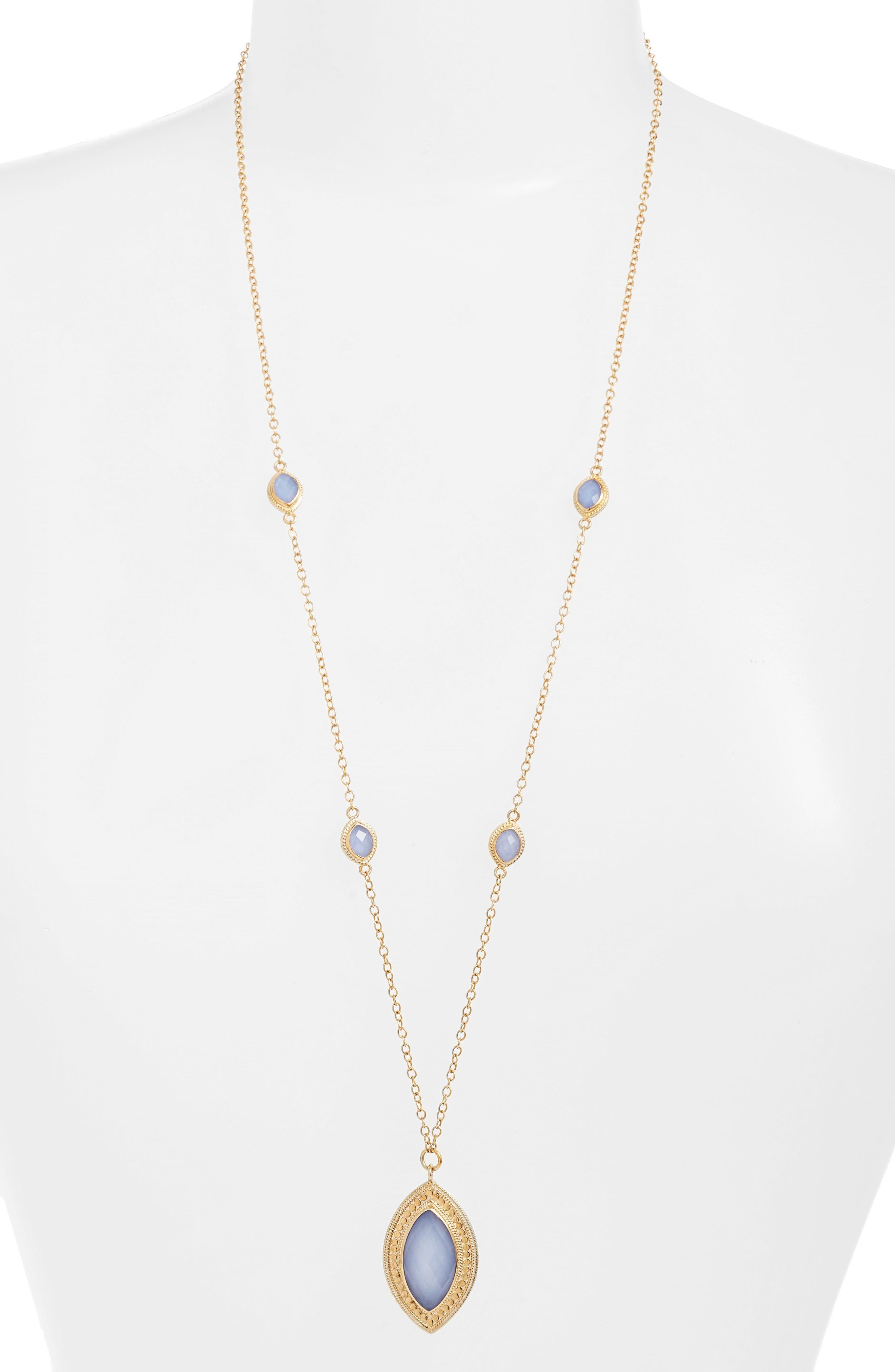 Semiprecious Stone Pendant Necklace,                             Main thumbnail 1, color,                             Gold/ Blue Chalcedony