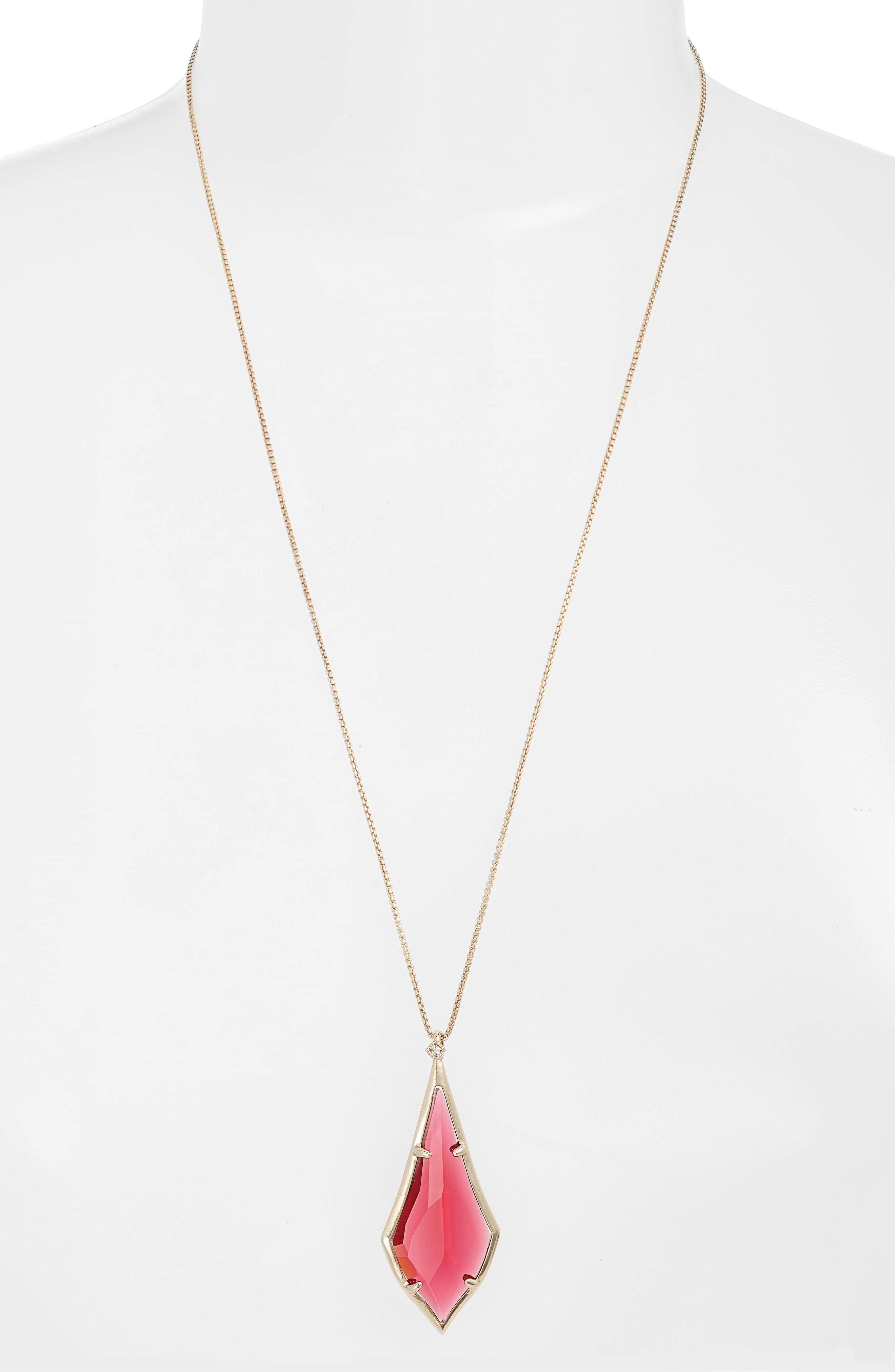 Damon Pendant Necklace,                         Main,                         color, Berry/ Brass
