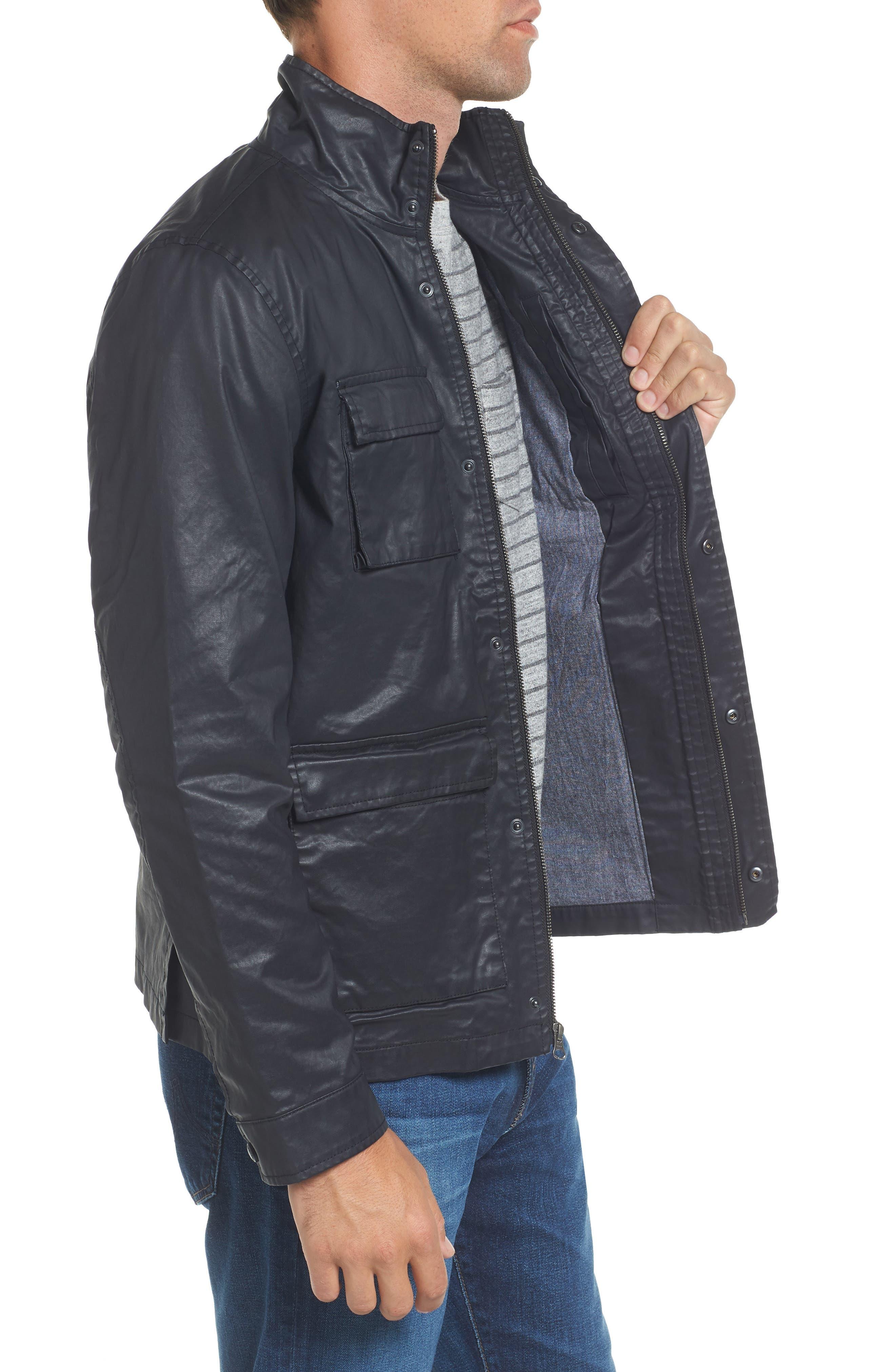 Edgeware Modern Fit Coated Moto Jacket,                             Alternate thumbnail 3, color,                             Black