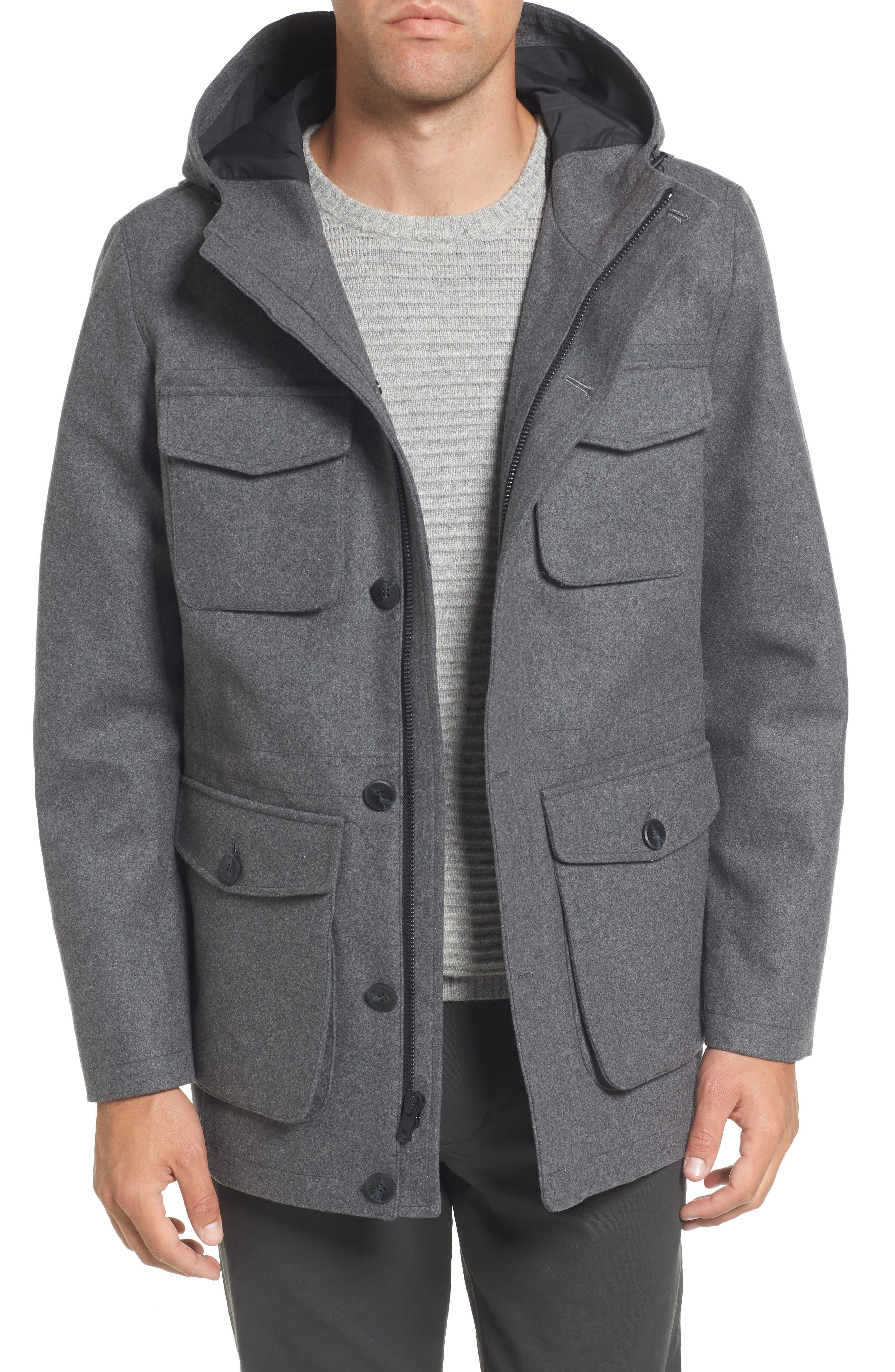 Hooded Jacket with Removable Bib,                         Main,                         color, Heather Grey