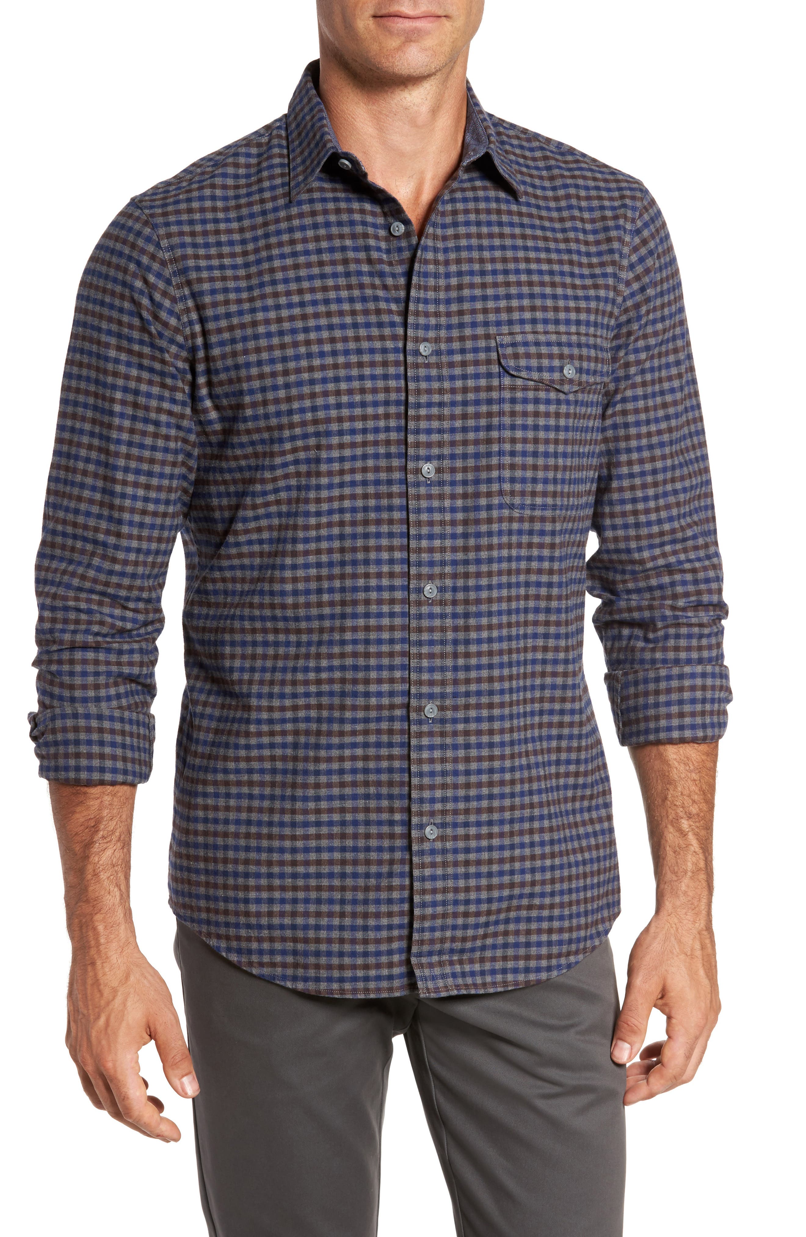 Regular Fit Lumber Check Flannel Shirt,                         Main,                         color, Grey Shade Brown Check