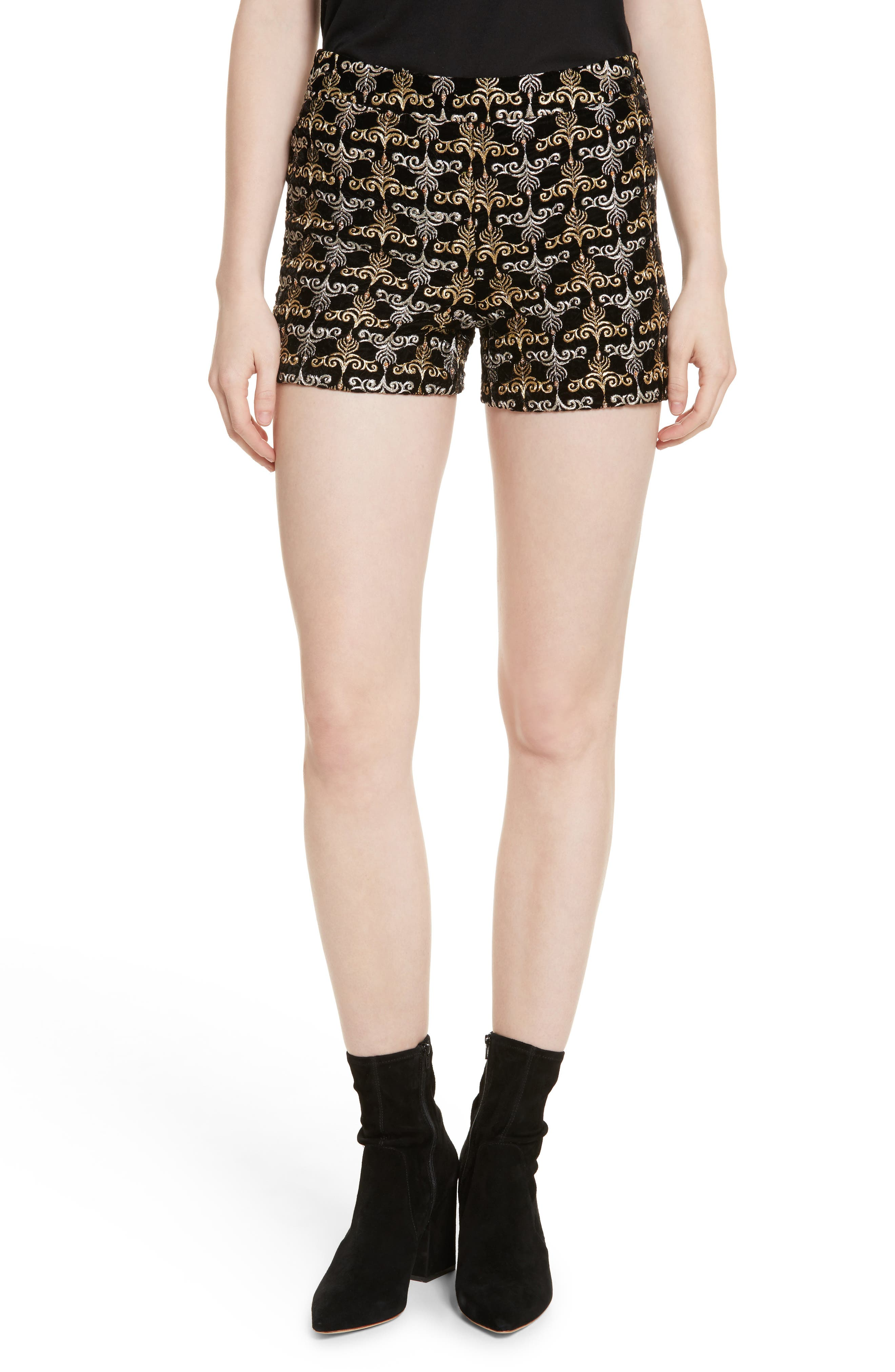 Marisa Embroidered Back Zip Shorts,                         Main,                         color, Black/ Gold