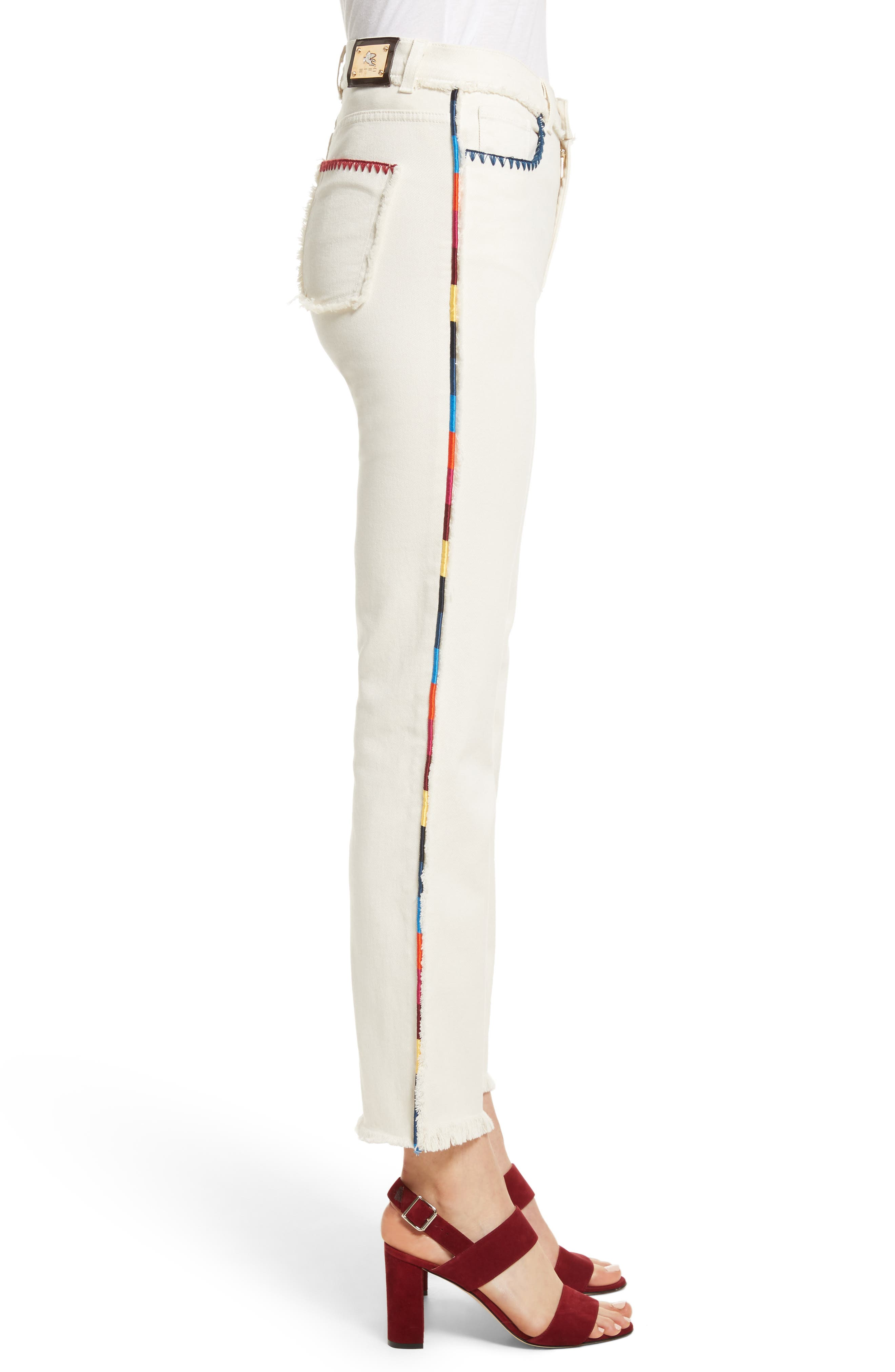 Alternate Image 3  - Etro Embroidered Piping Crop Jeans