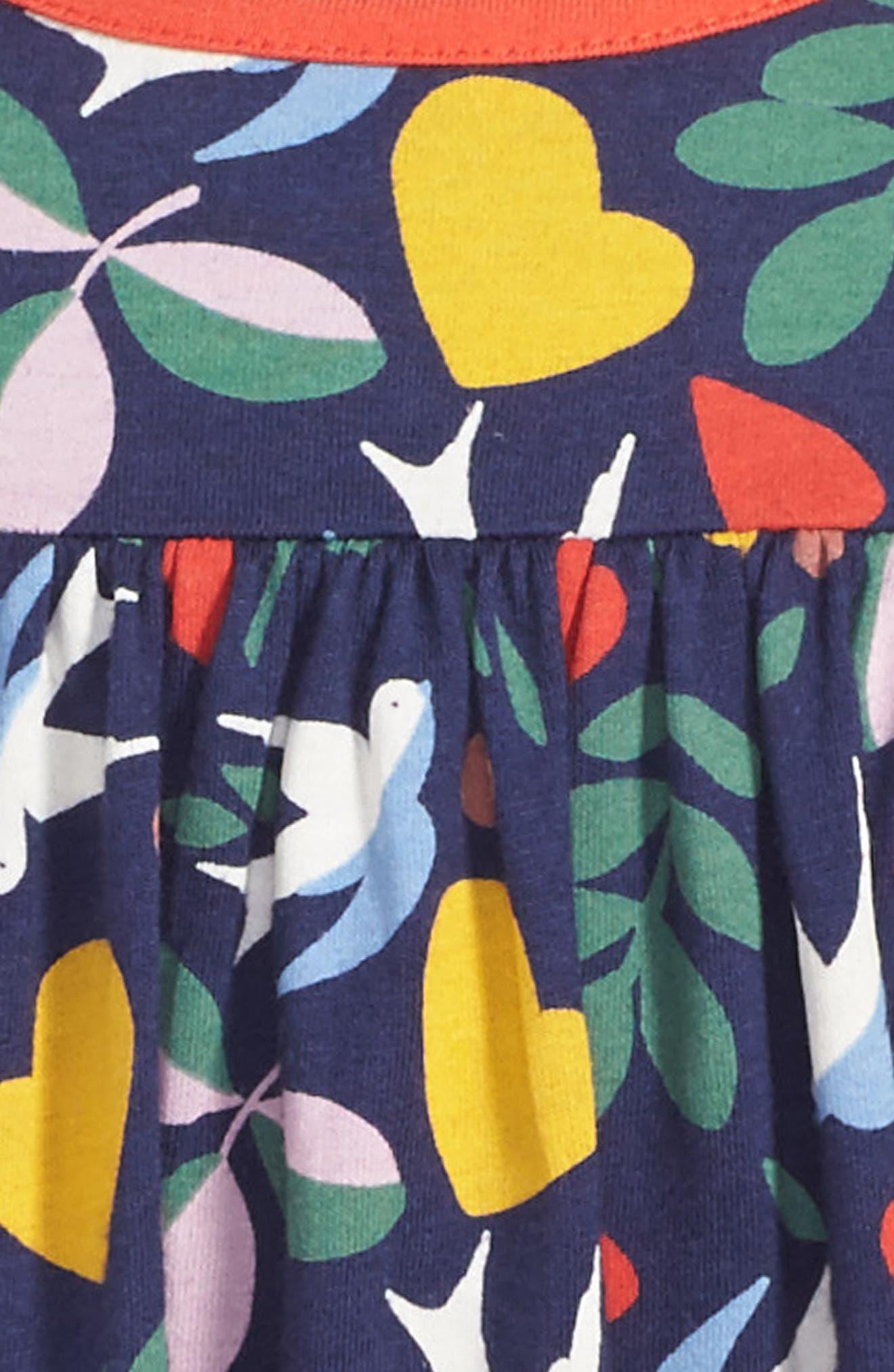 Frill Jersey Dress,                             Alternate thumbnail 3, color,                             Blue Lovebirds