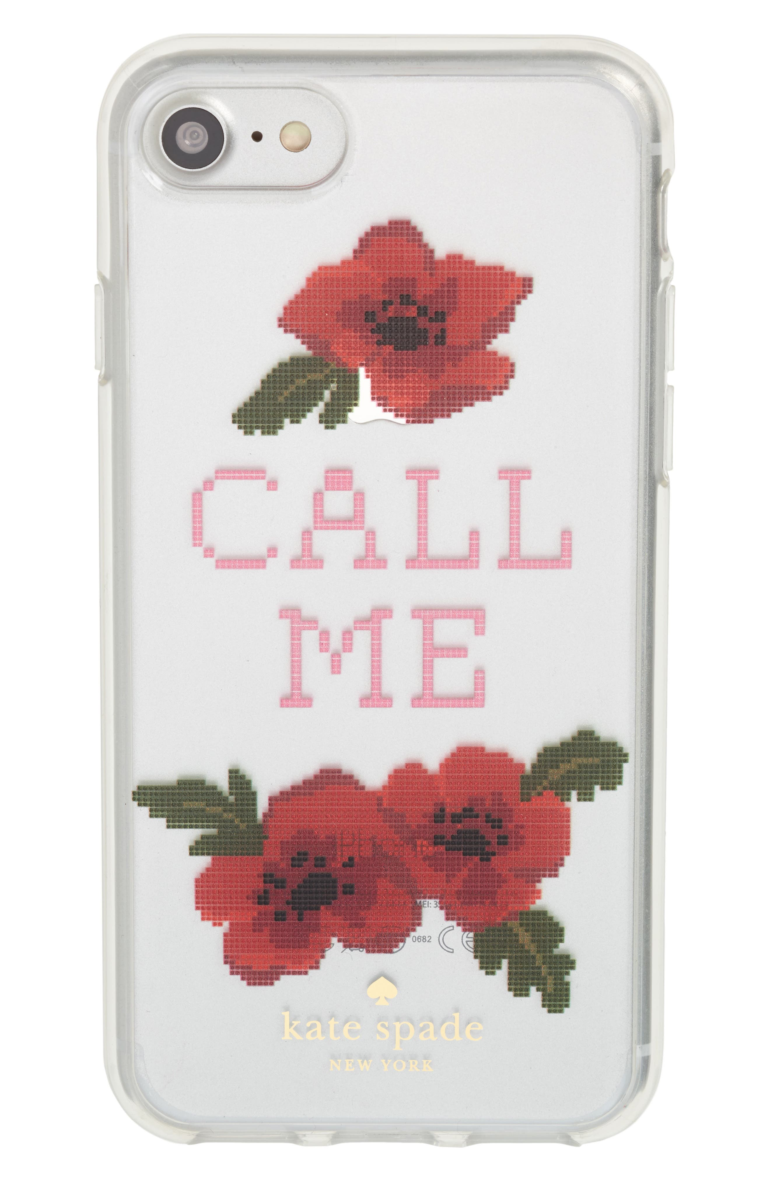 needlepoint call me iPhone 7/8 & 7/8 Plus case,                         Main,                         color, Clear Multi