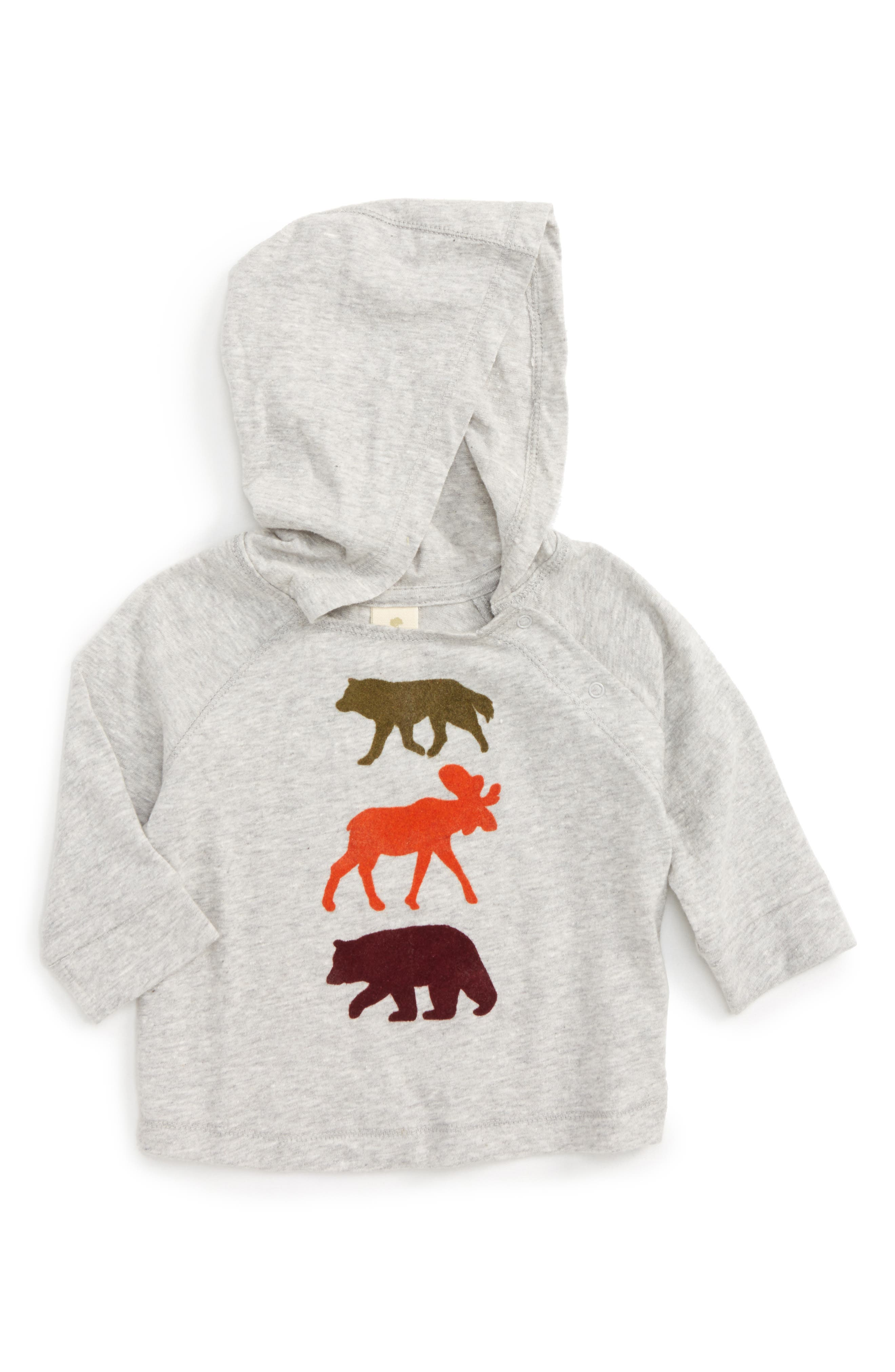 Hooded T-Shirt,                         Main,                         color, Grey Ash Heather Animals